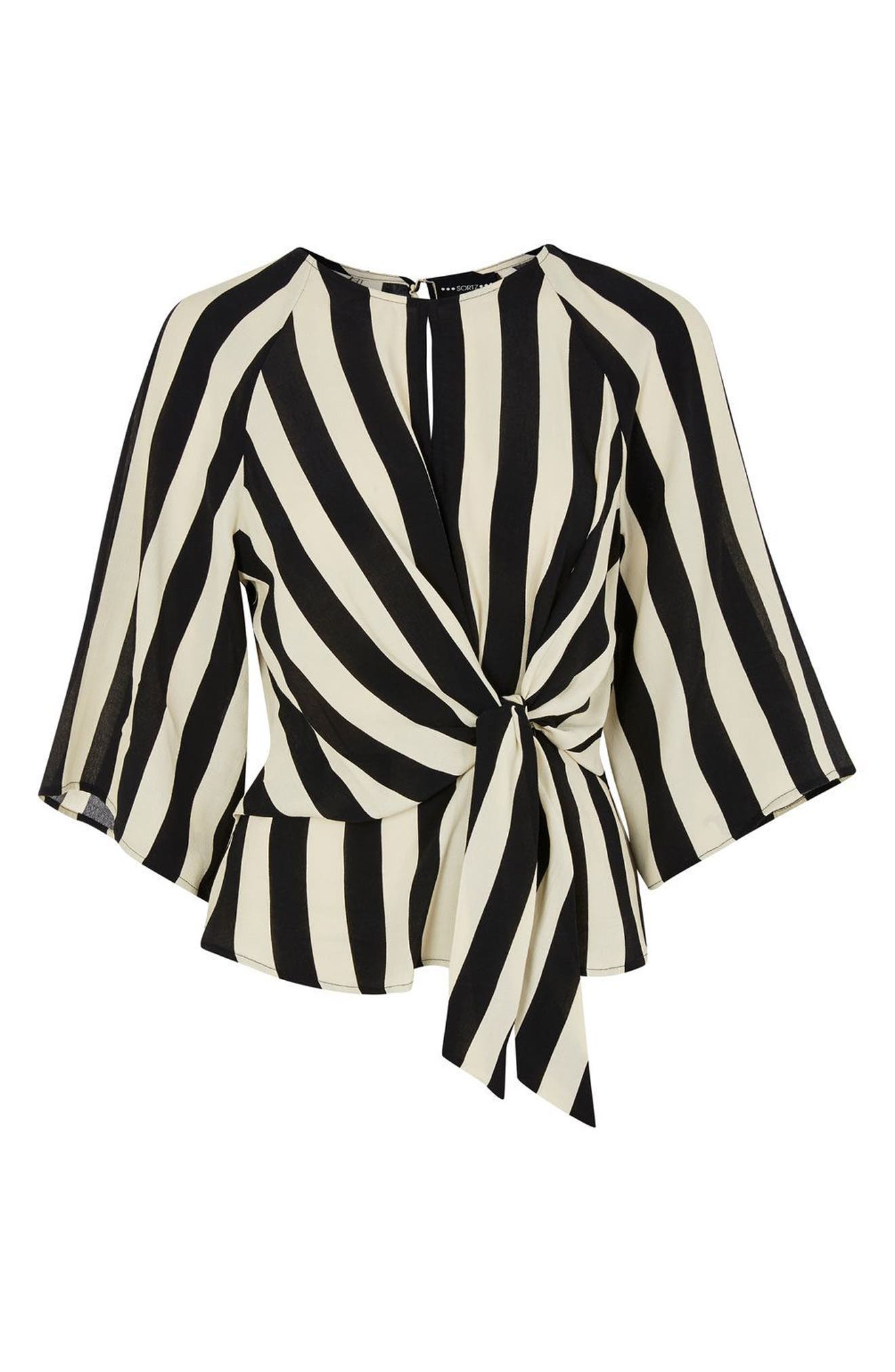 Humbug Stripe Slouch Knot Blouse,                             Alternate thumbnail 3, color,                             Black Multi