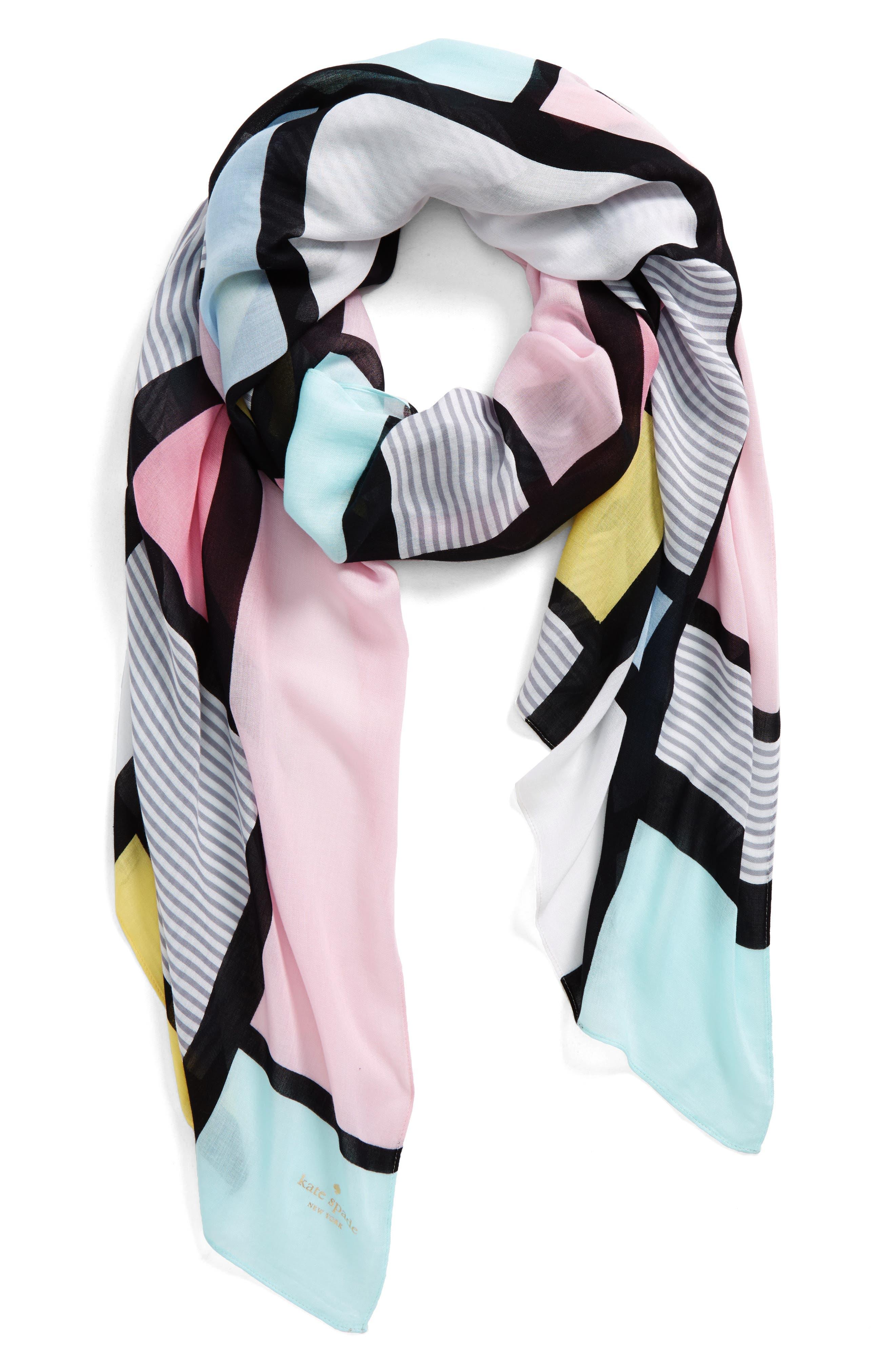 colorblock oblong scarf,                         Main,                         color, Valentine Pink