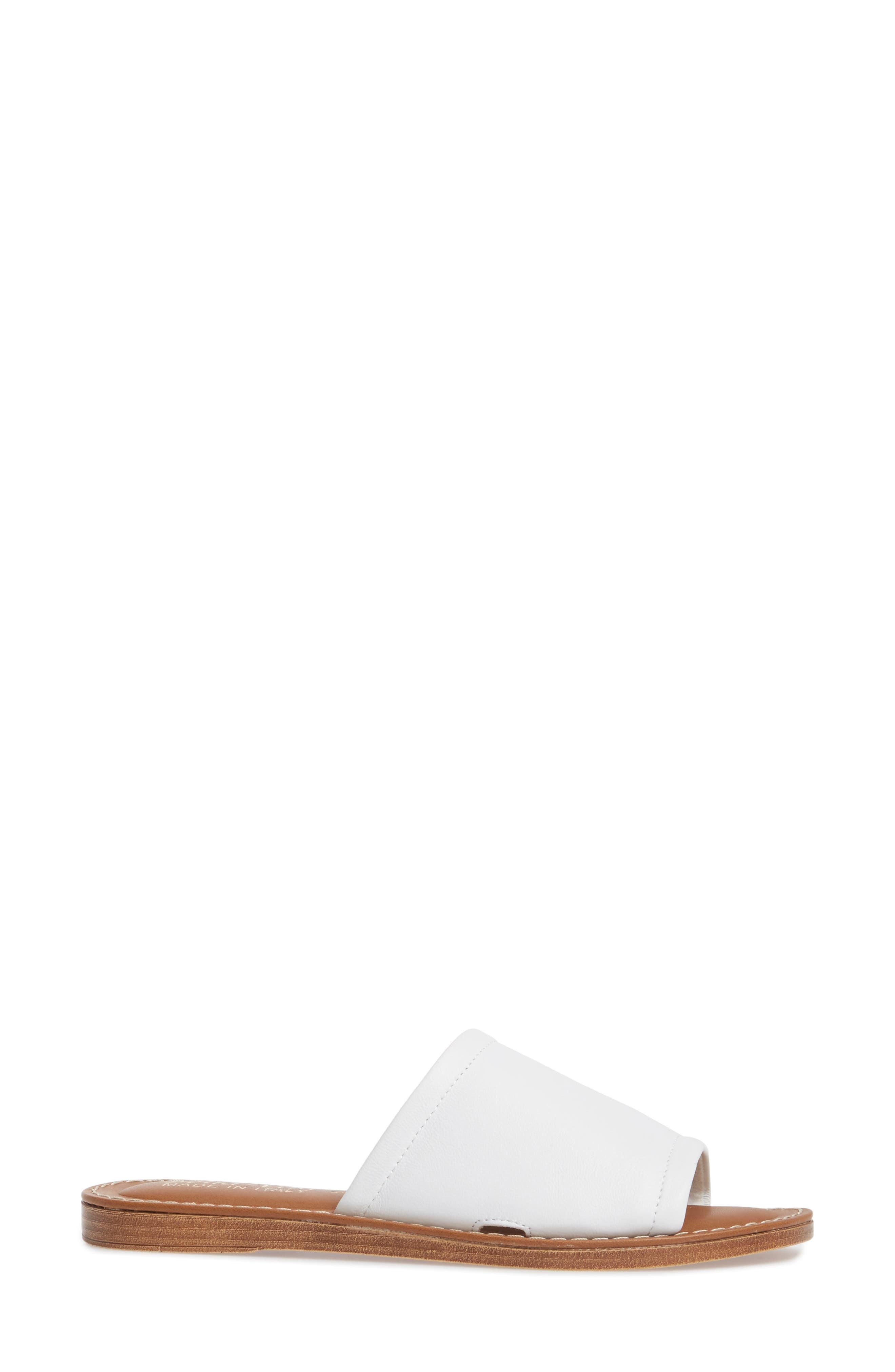 Ros Slide Sandal,                             Alternate thumbnail 3, color,                             White Leather