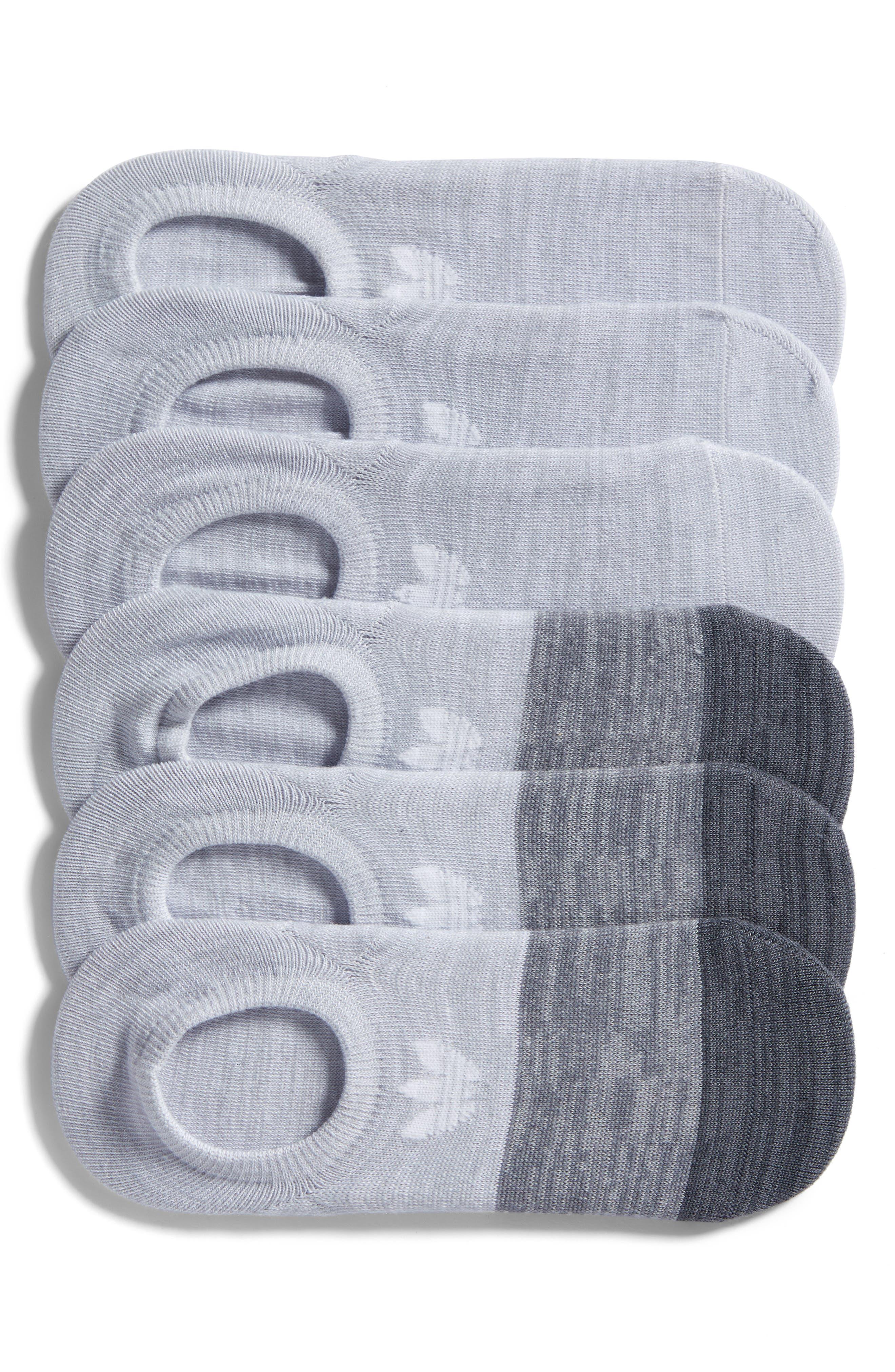 Block Space Dye 6-Pack Super No-Show Socks,                             Main thumbnail 1, color,                             Lt Grey