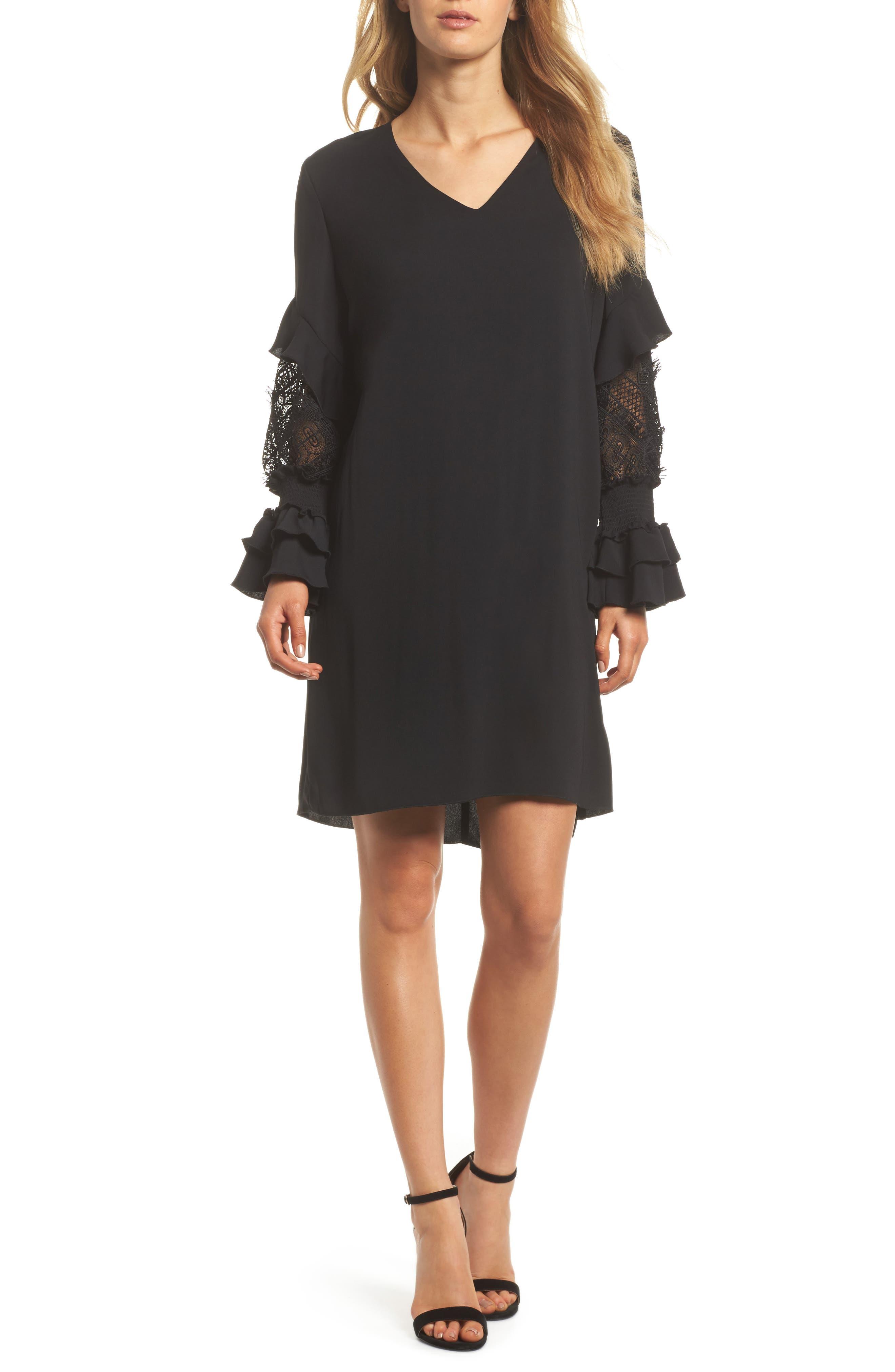 Alda Lace Sleeve Shift Dress,                         Main,                         color, Black