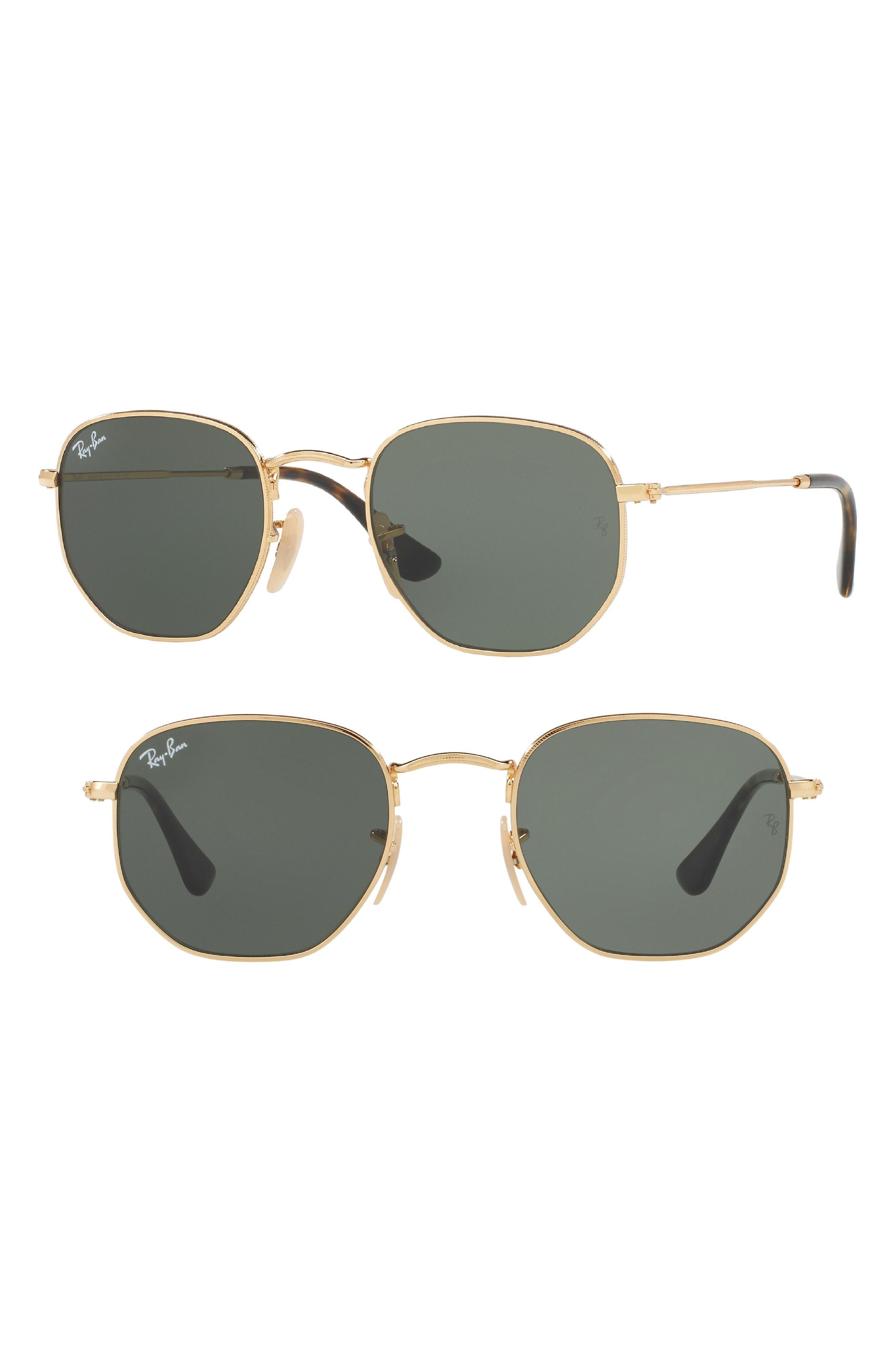48mm Hexagonal Flat Lens Sunglasses,                         Main,                         color, Gold/ Green