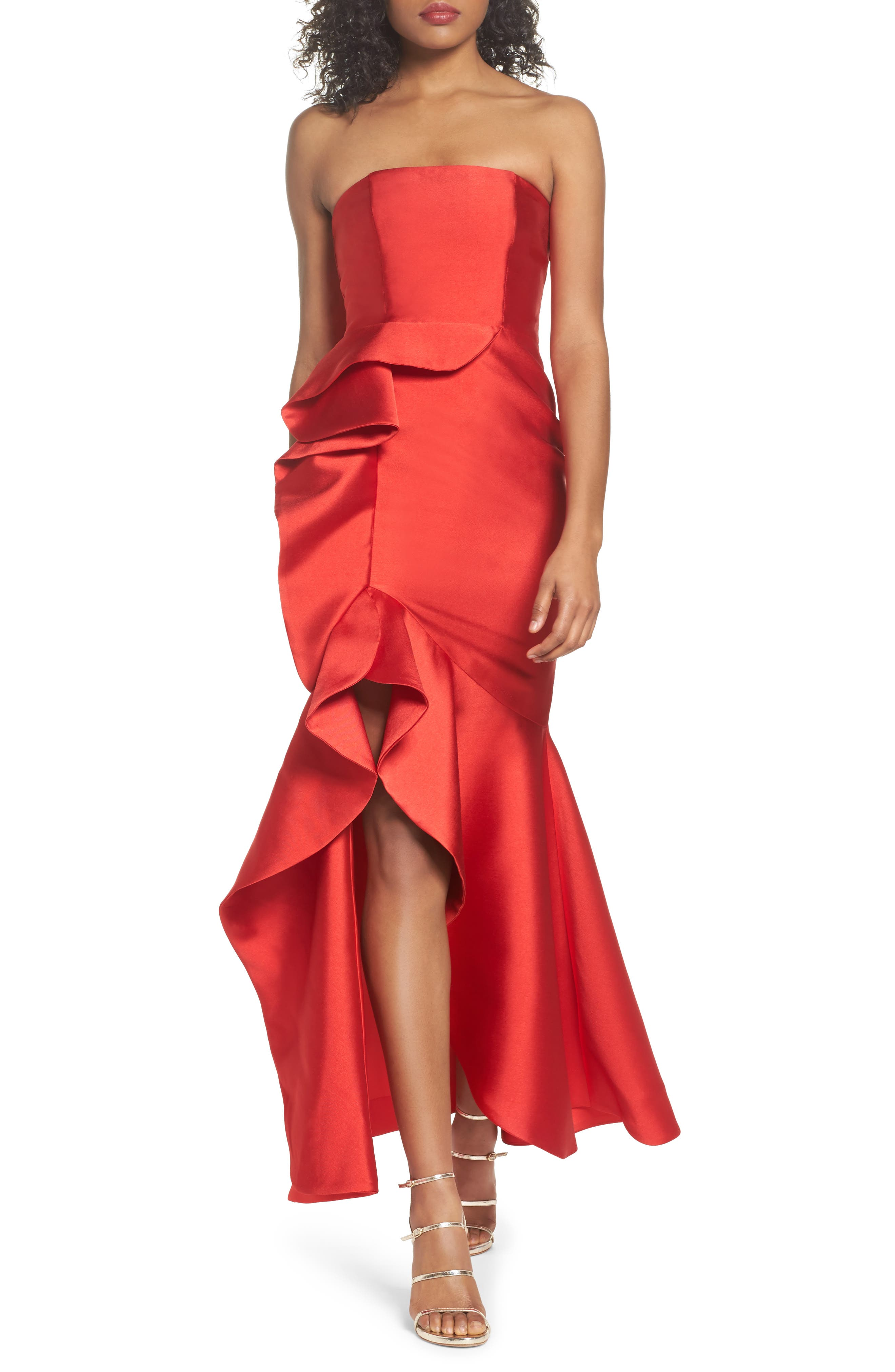 Sellers High/Low Mermaid Gown,                             Main thumbnail 1, color,                             Red