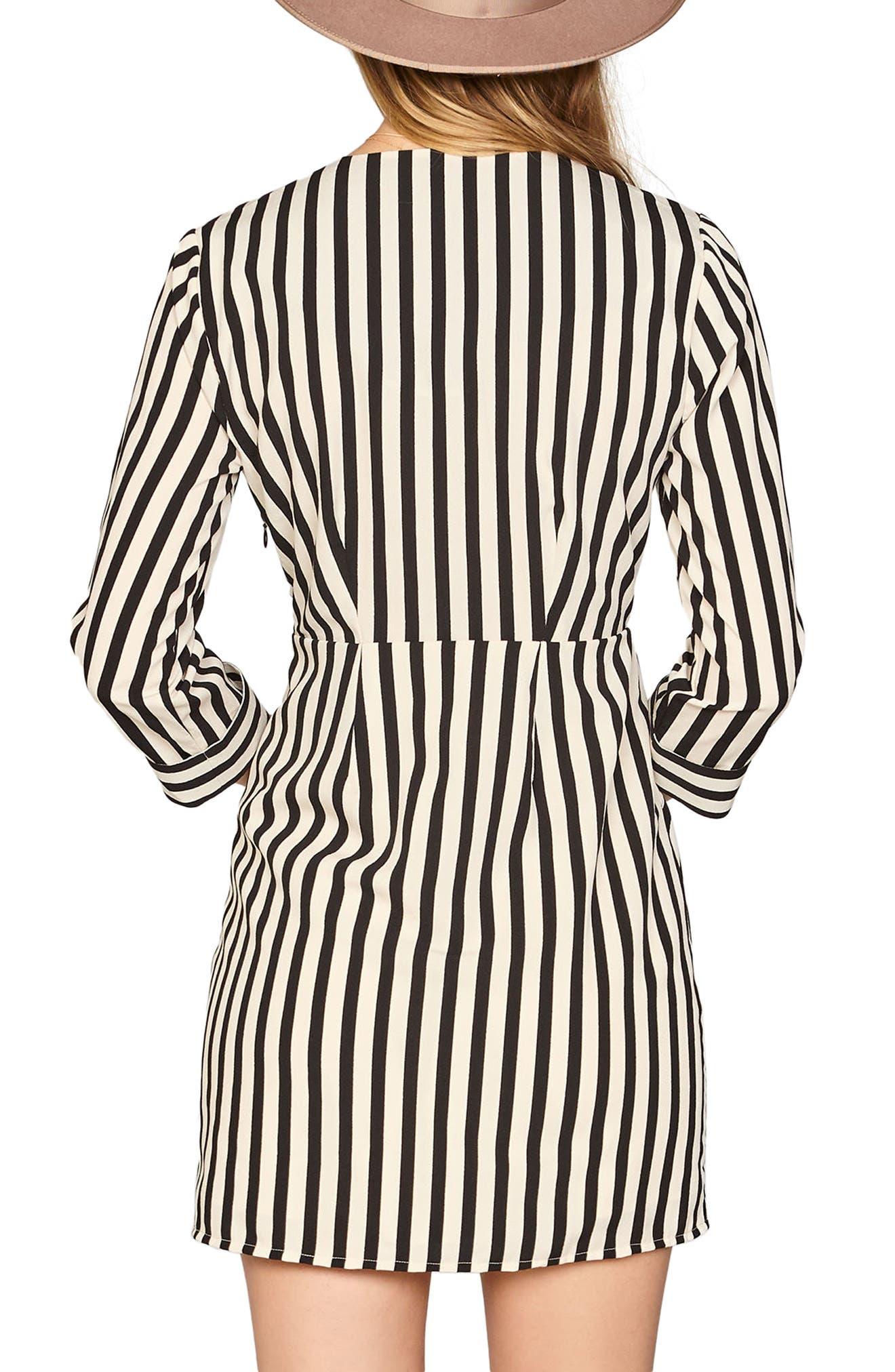 Caught You Looking Stripe Dress,                             Alternate thumbnail 2, color,                             Black Sands