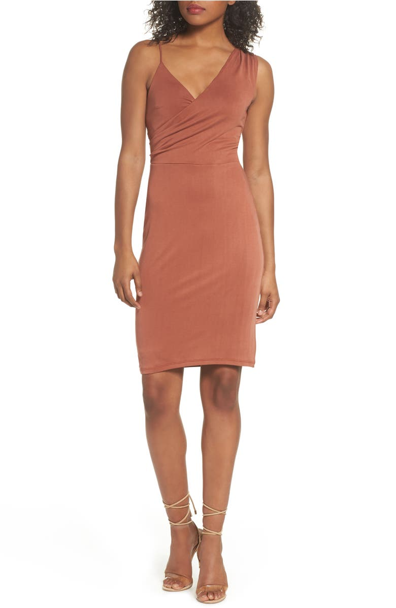 Gracie Cupro Body-Con Dress,                         Main,                         color, Cinnabar