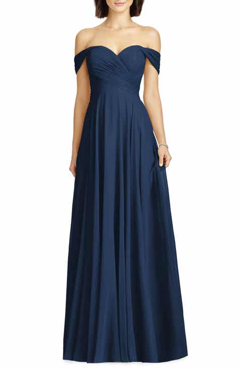 f5e1ec3edb Dessy Collection Lux Ruched Off the Shoulder Chiffon Gown (Regular   Plus  Size)