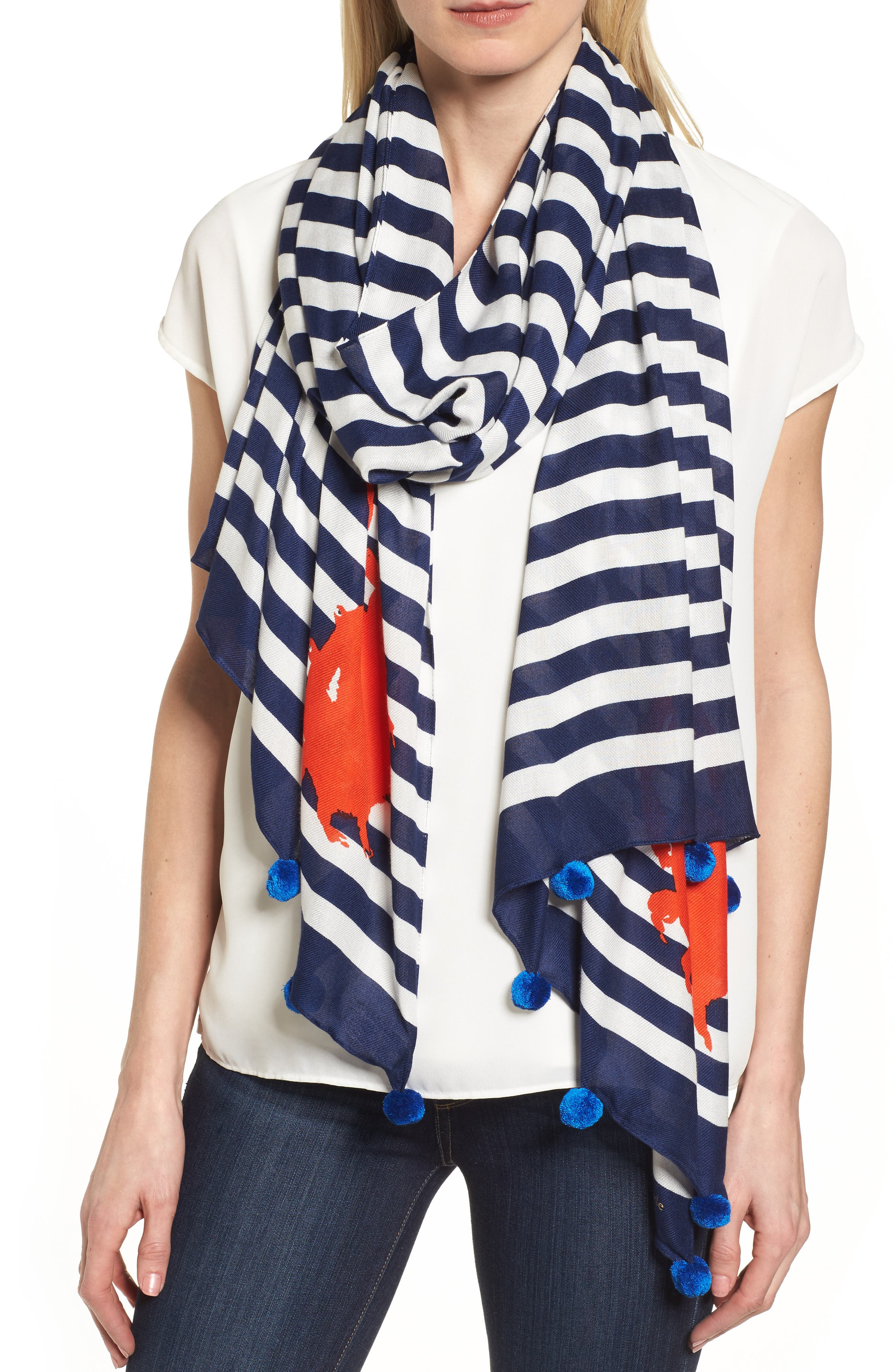hanging crab stripe scarf,                         Main,                         color, French Navy
