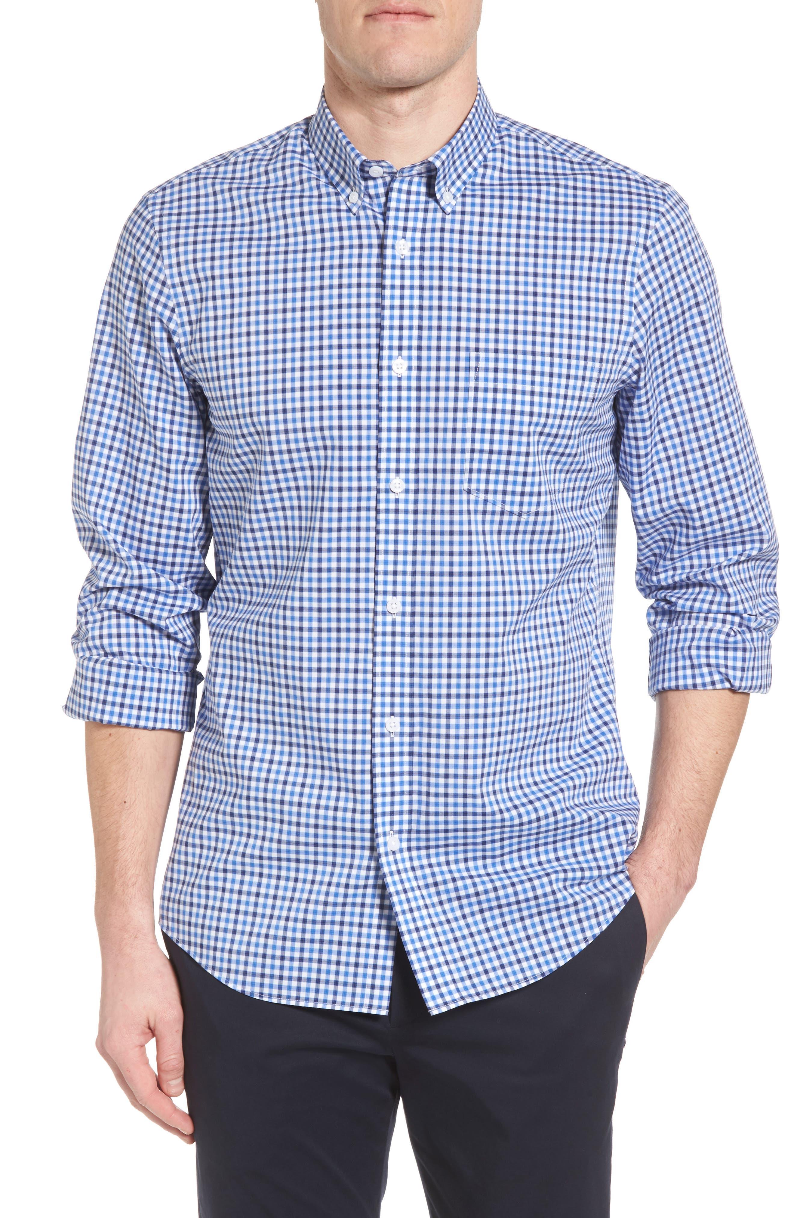 Tech-Smart Regular Fit Check Sport Shirt,                         Main,                         color, Blue Camp Navy Check