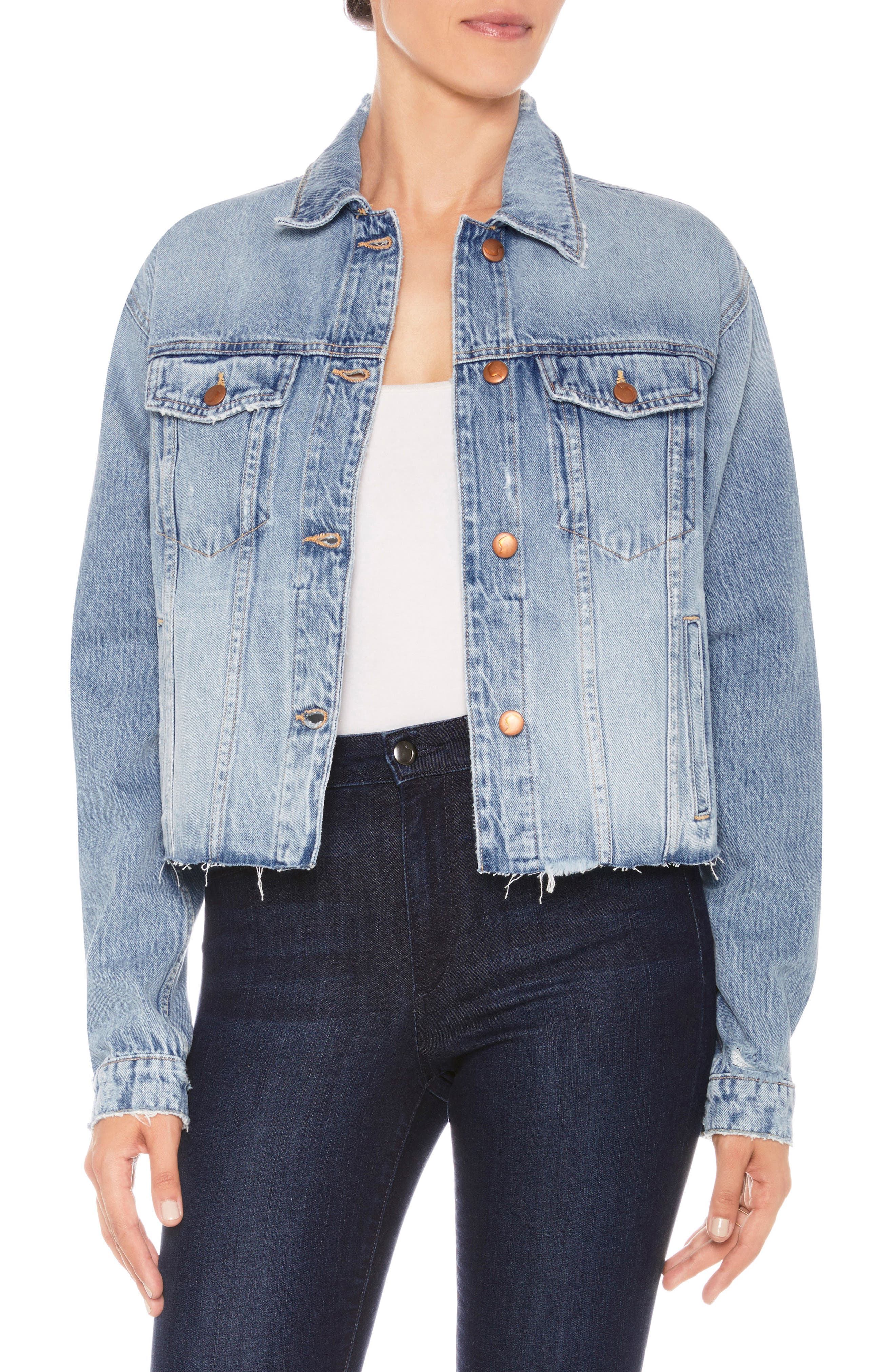 The Boyfriend Cutoff Denim Jacket,                         Main,                         color, Jacinda