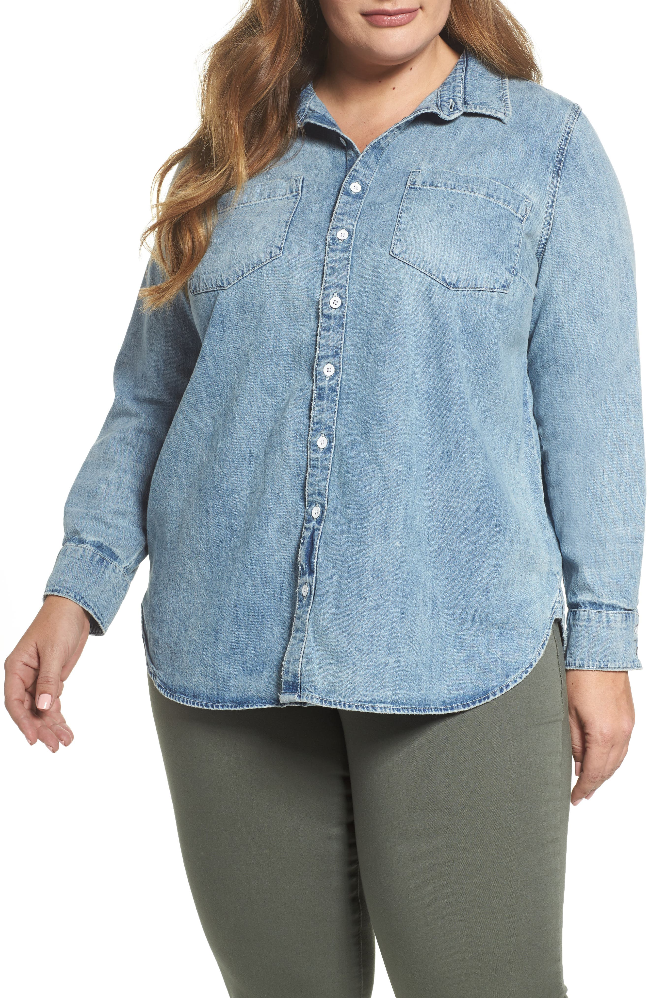 Alternate Image 1 Selected - Lucky Brand Chambray Boyfriend Shirt (Plus Size)