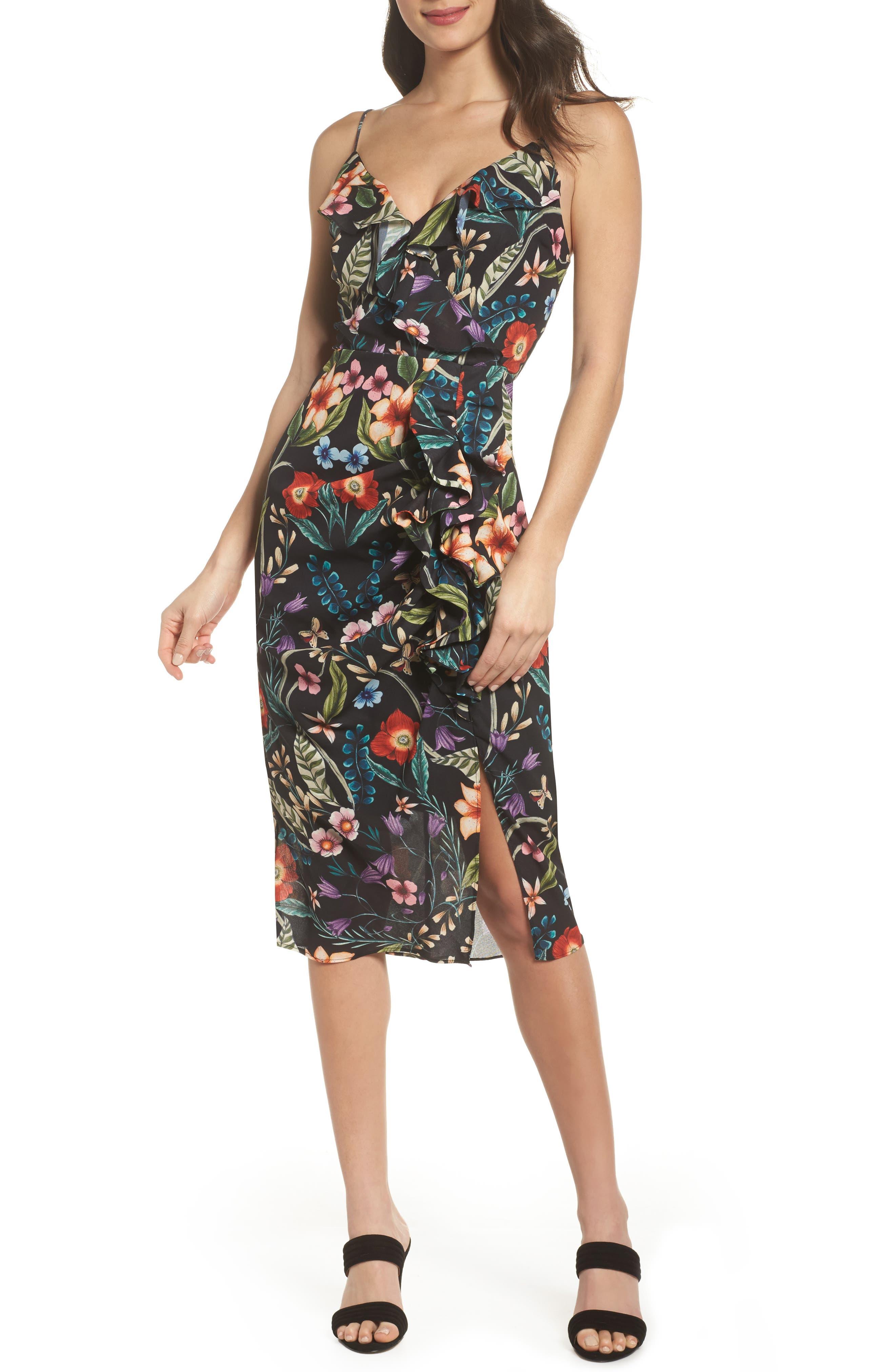 Gardenia Ruffle Dress,                             Main thumbnail 1, color,                             Print Dark