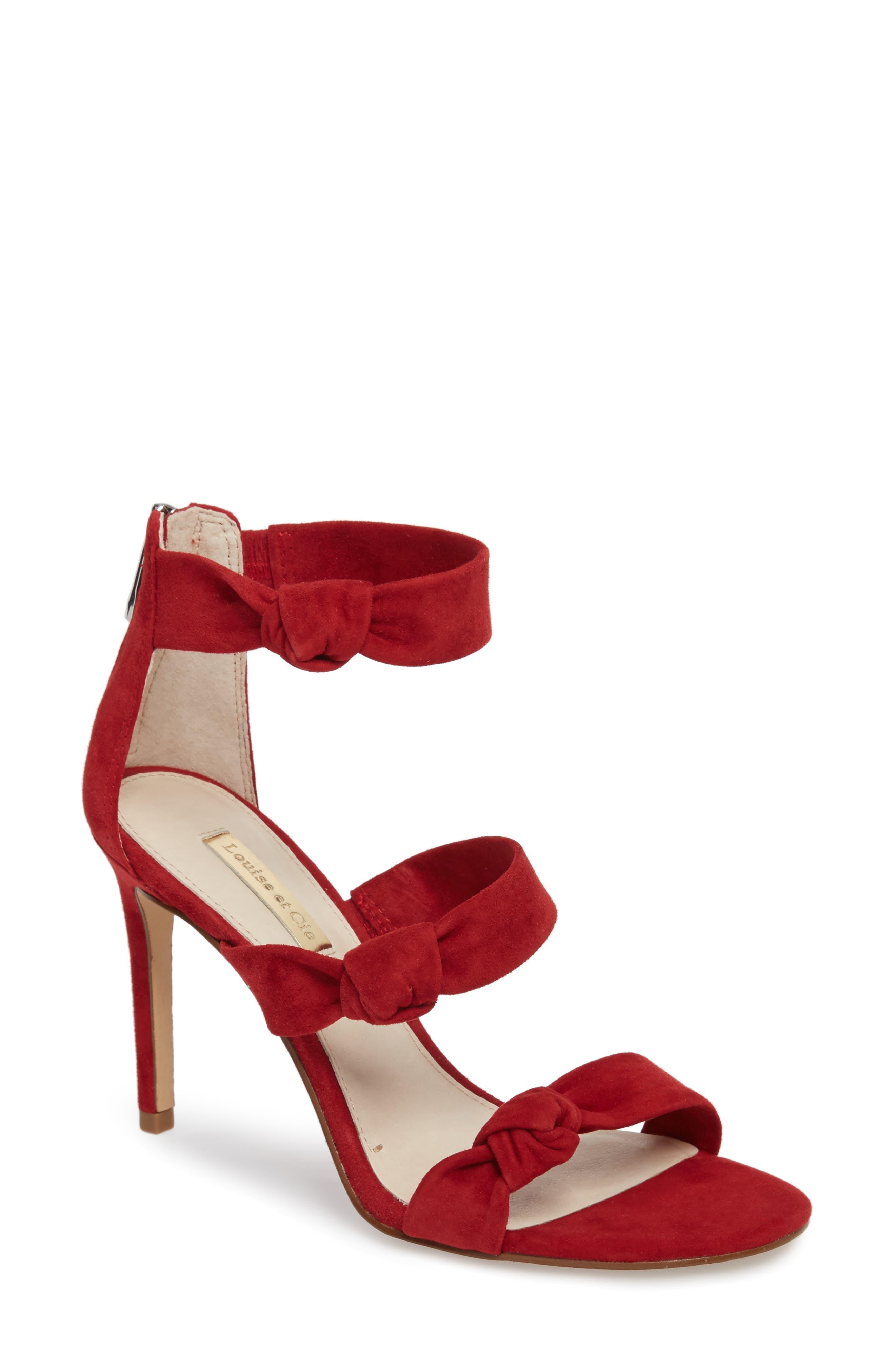 Klarissa Sandal,                         Main,                         color, Cherry Red Suede