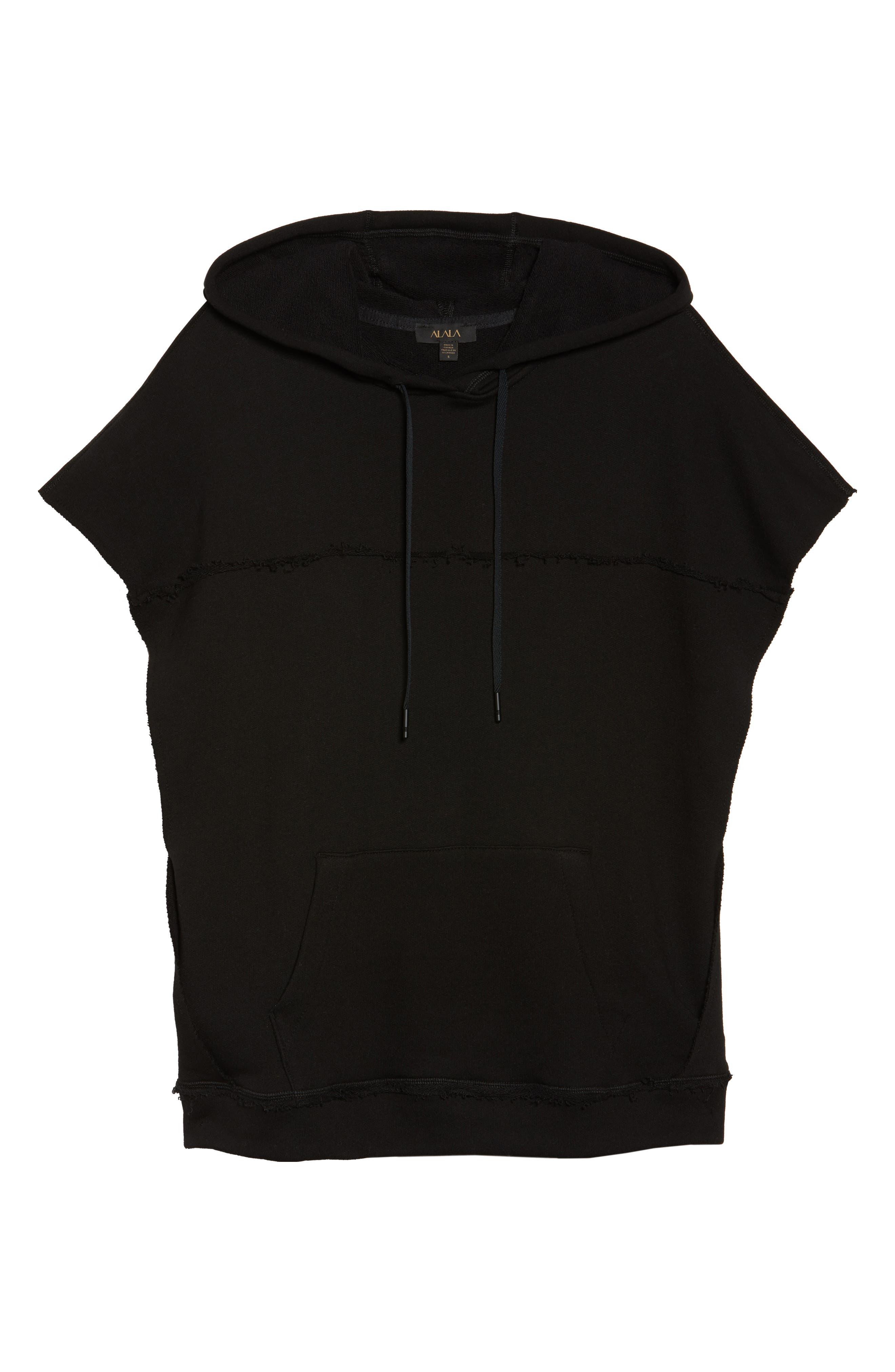 Split Hooded Poncho,                             Alternate thumbnail 3, color,                             Black