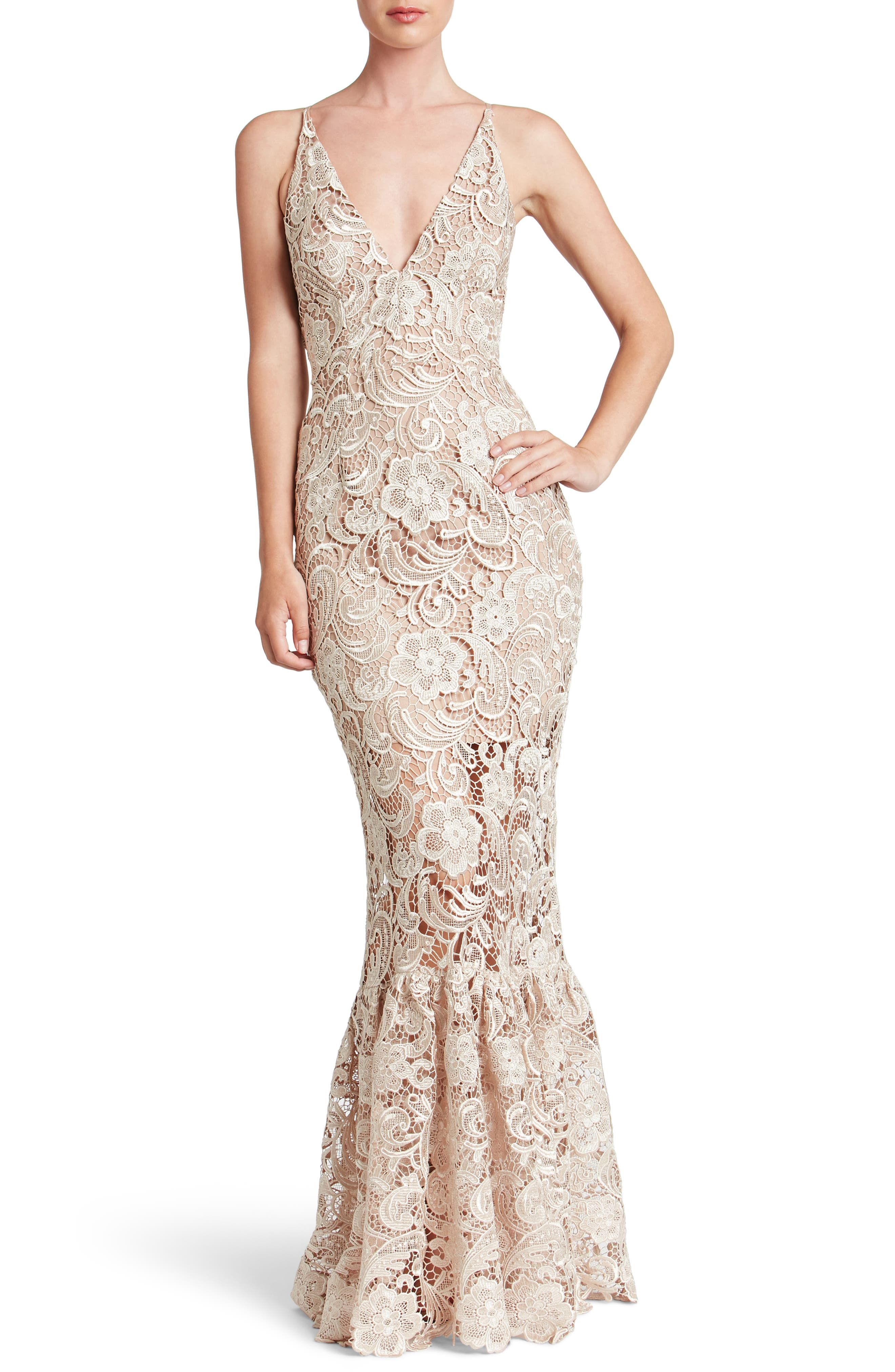 Alternate Image 1 Selected - Dress the Population Sophia Crochet Lace Mermaid Gown