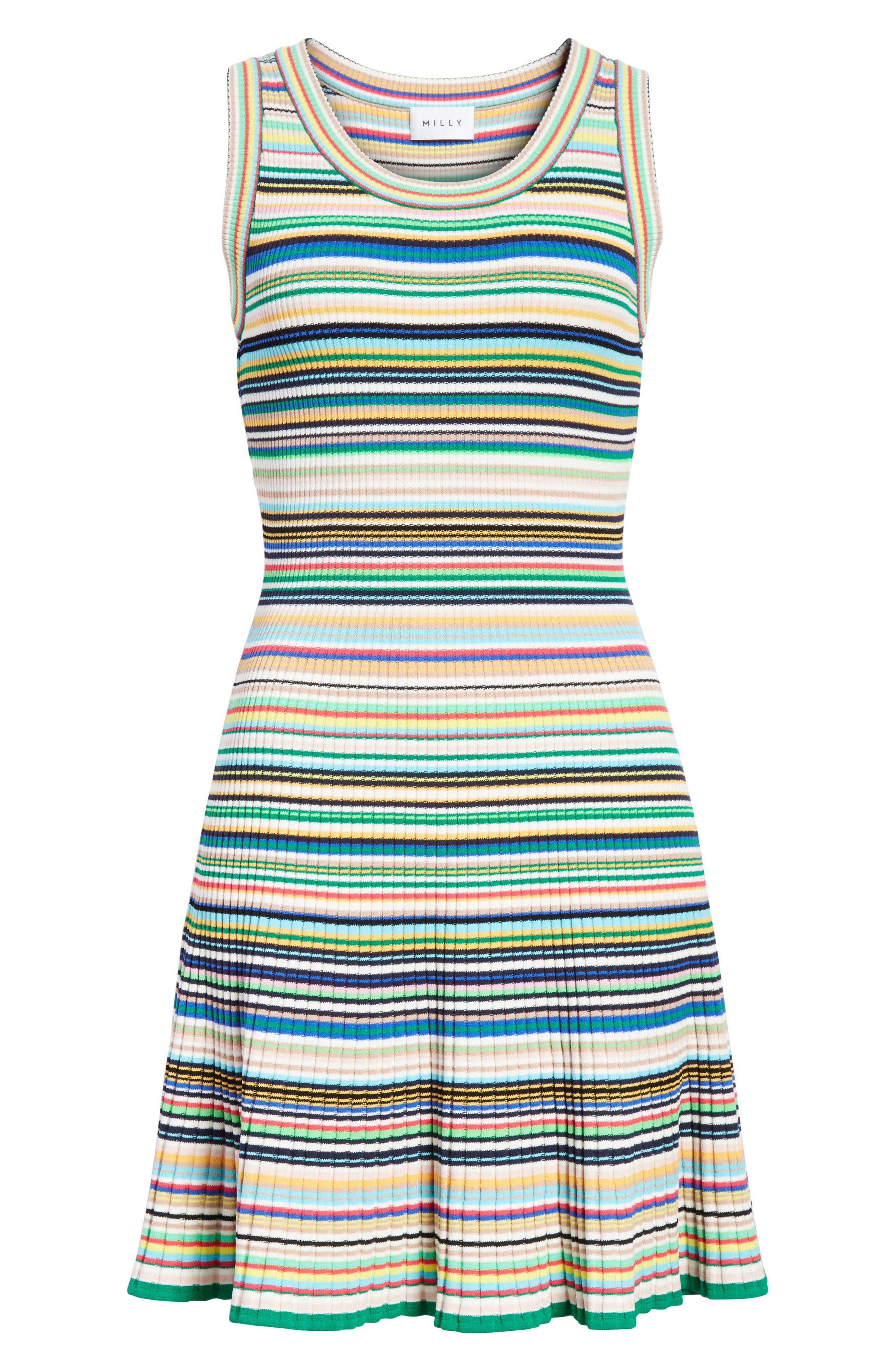Microstripe Knit Fit & Flare Dress,                             Alternate thumbnail 6, color,                             Rainbow Multi