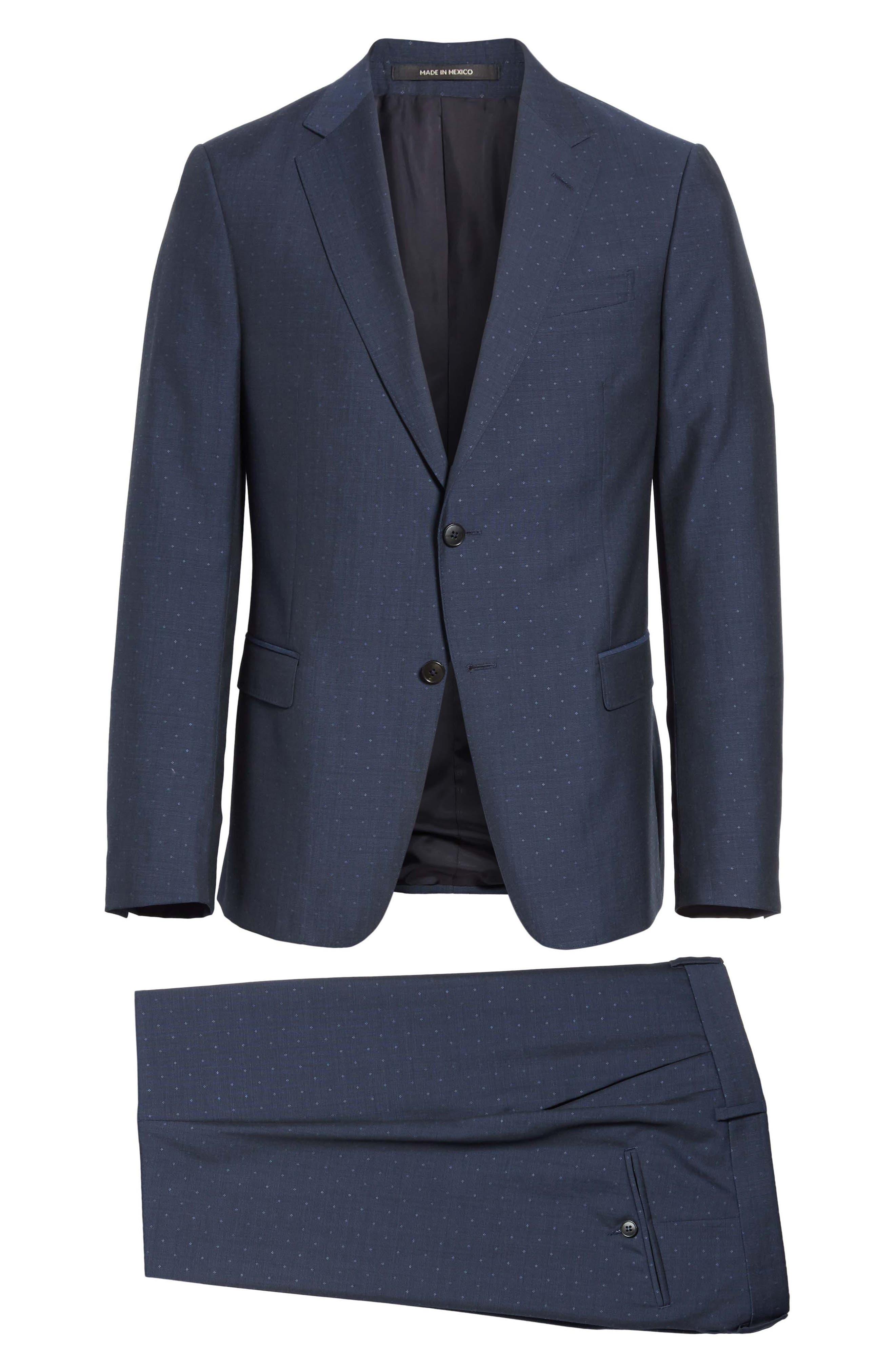 Classic Fit Dot Wool Suit,                             Alternate thumbnail 8, color,                             Navy Check