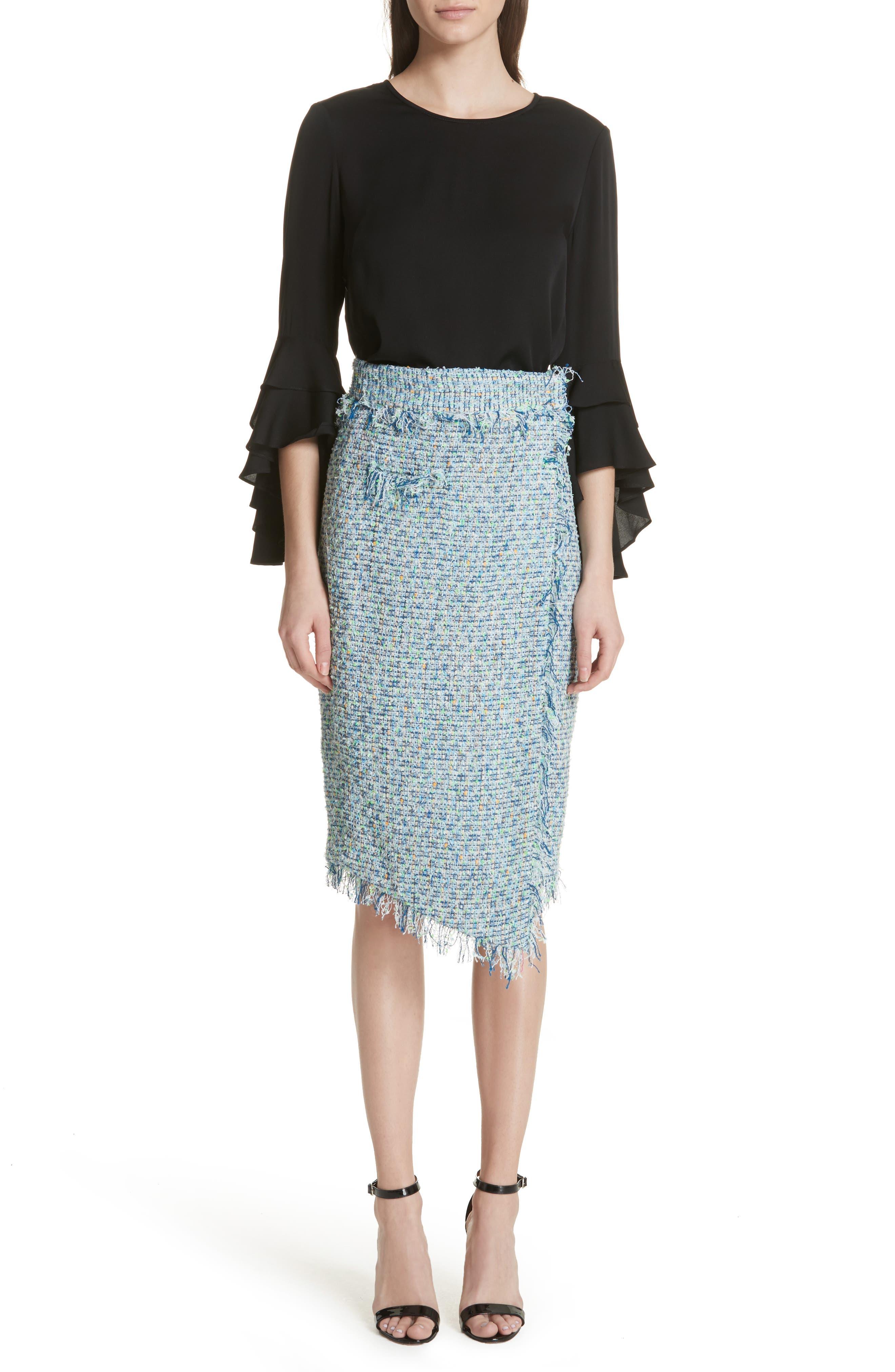 Tweed Wrap Skirt,                             Alternate thumbnail 7, color,                             Blue