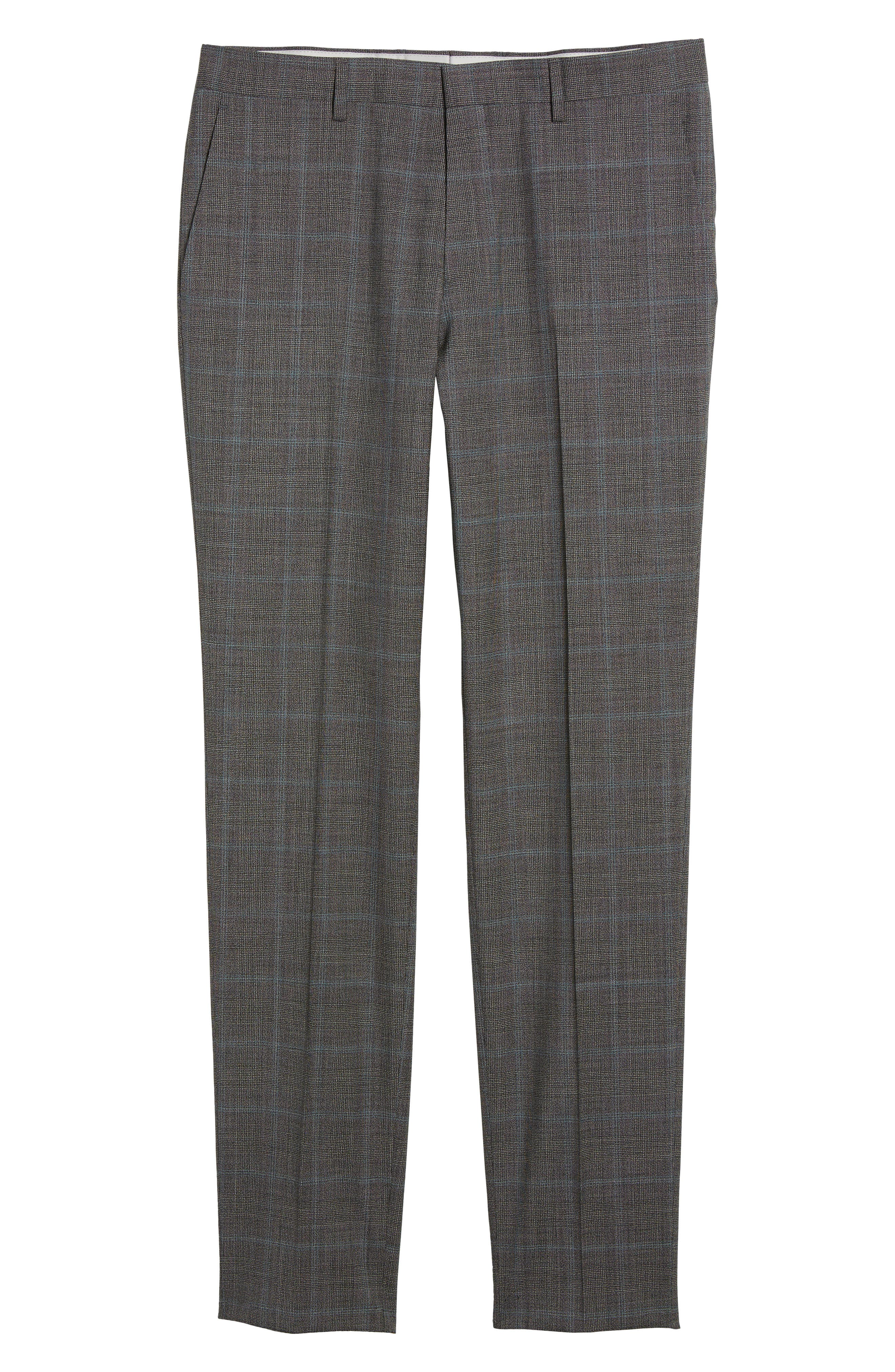 Genesis Flat Front Plaid Wool Trousers,                             Alternate thumbnail 6, color,                             Open Grey