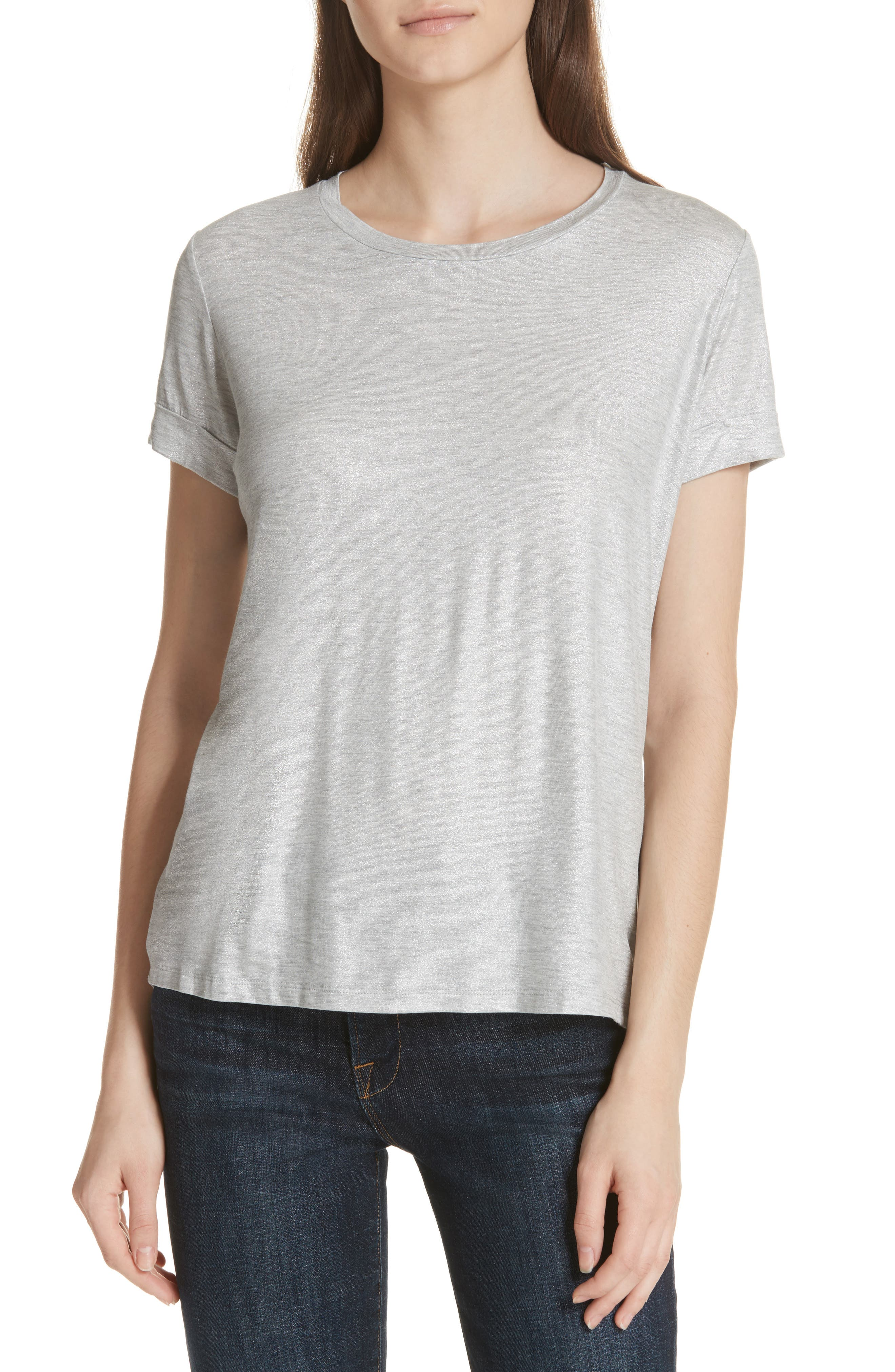 Metallic Short Sleeve Swing Tee,                             Main thumbnail 1, color,                             Silver Gris Chine