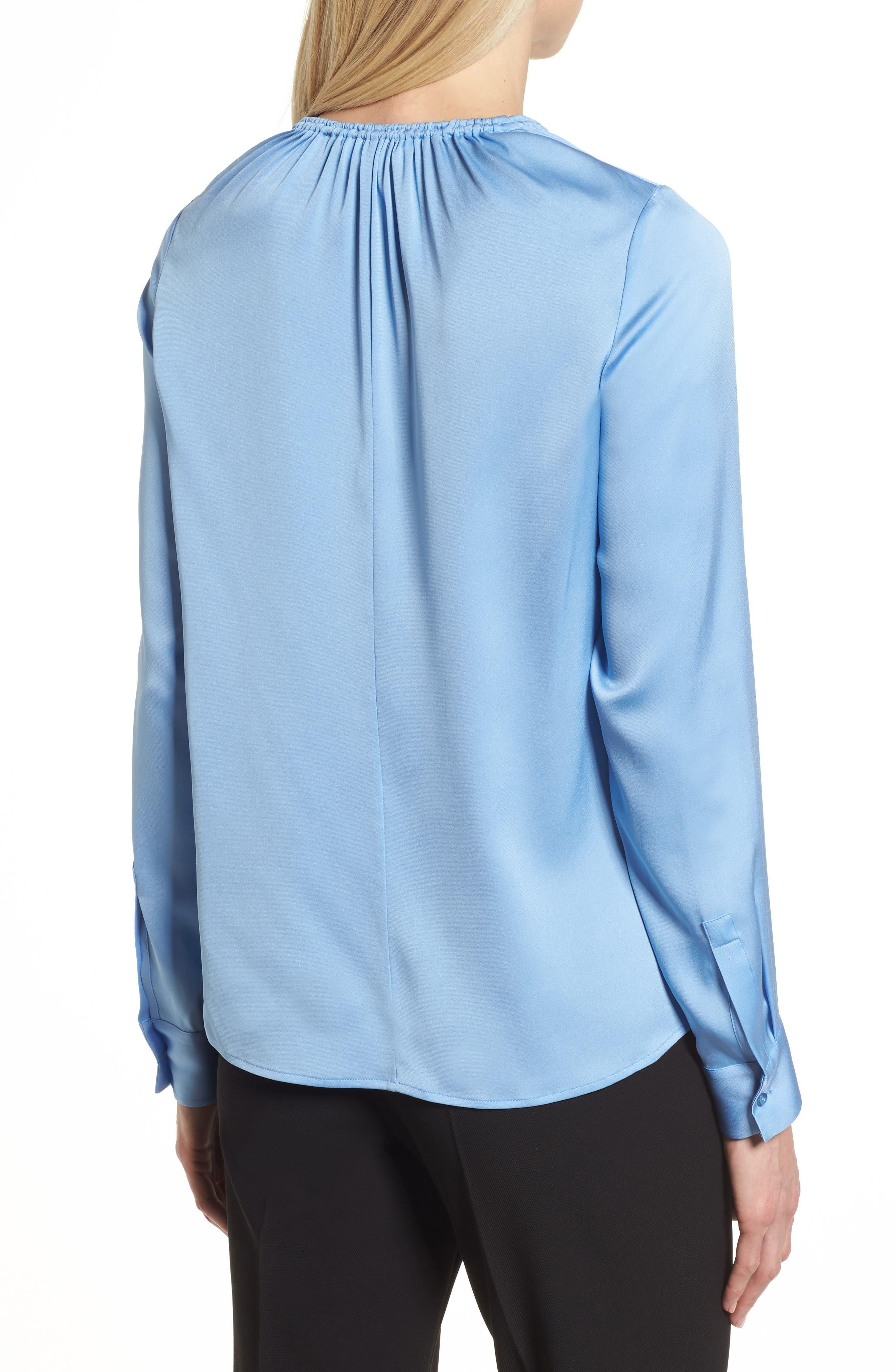 Banorana Stretch Silk Blouse,                             Alternate thumbnail 2, color,                             Blue Sky