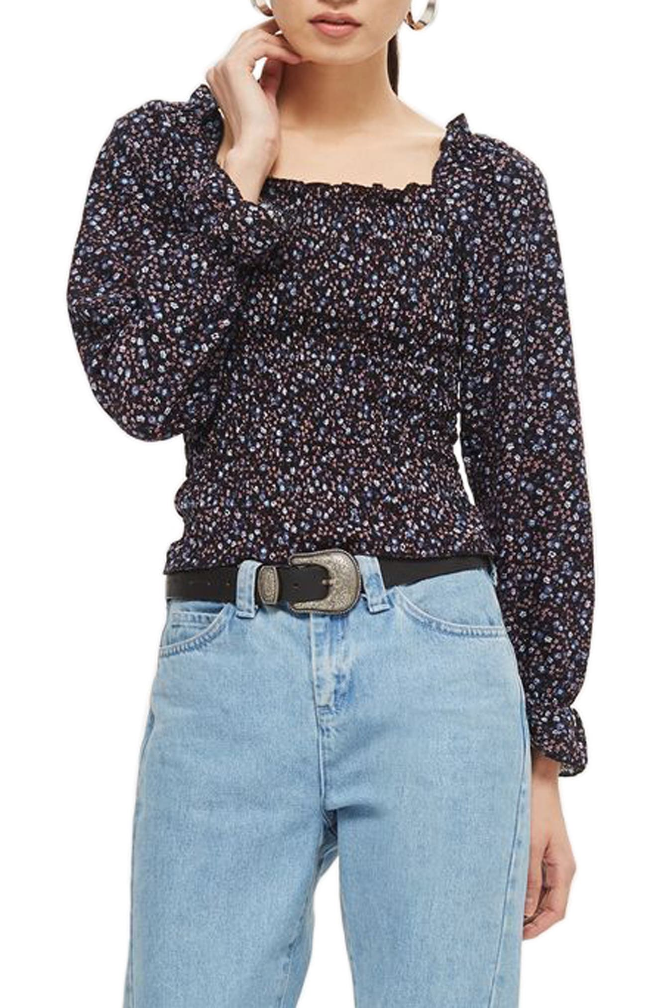 Shirred Ditsy Top,                         Main,                         color, Navy Blue Multi