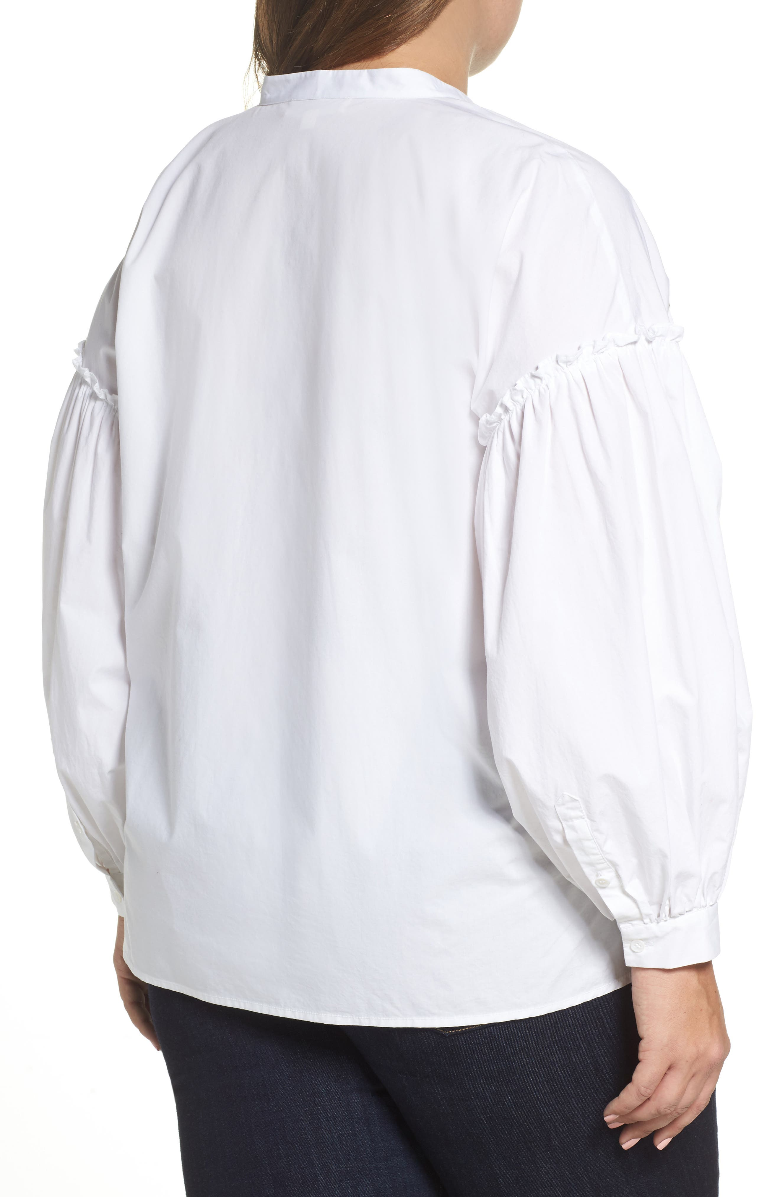 Embroidered Bubble Sleeve Blouse,                             Alternate thumbnail 2, color,                             Ultra White