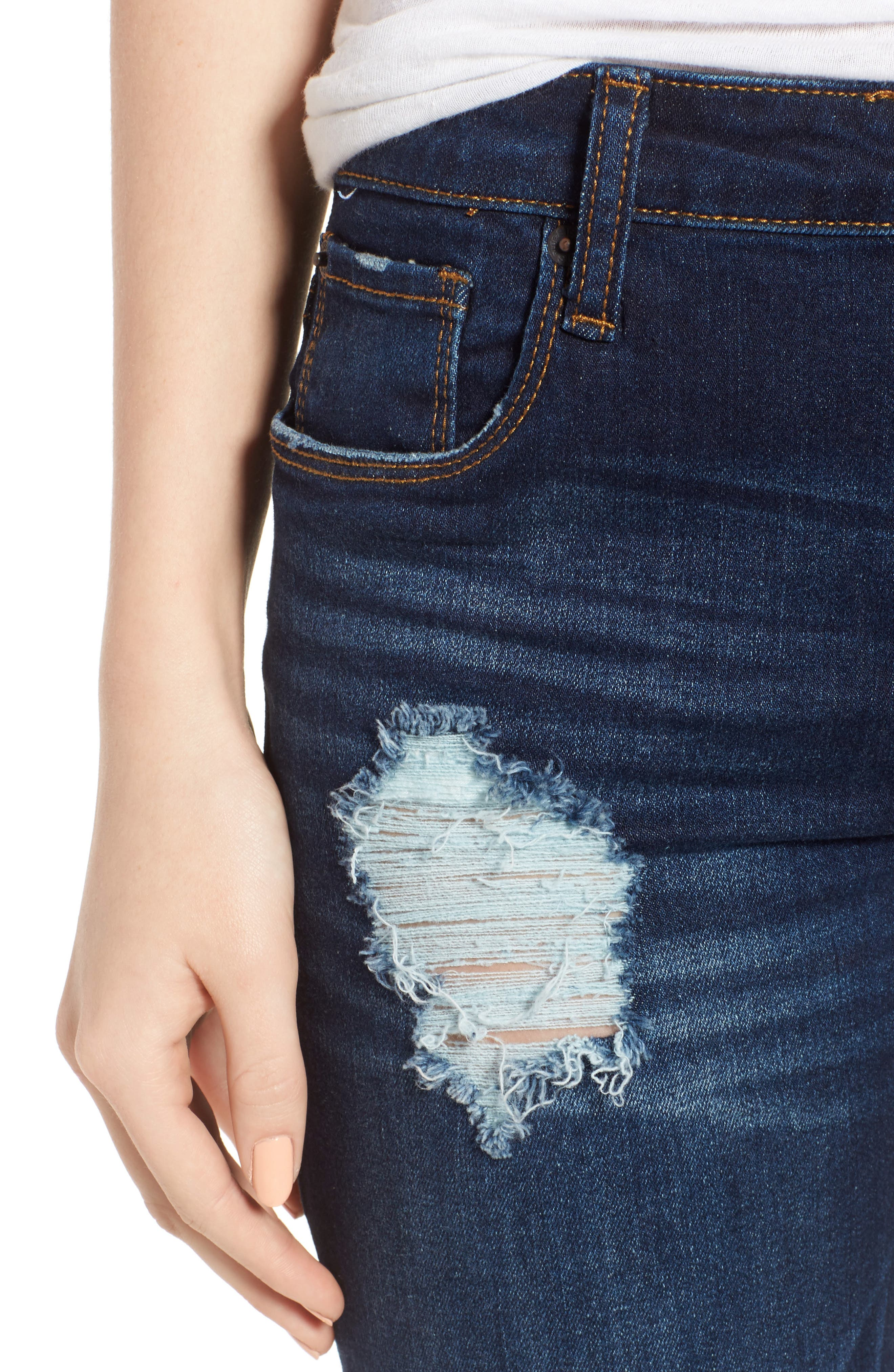Emma Frayed Hem Ankle Skinny Jeans,                             Alternate thumbnail 4, color,                             North La Canada