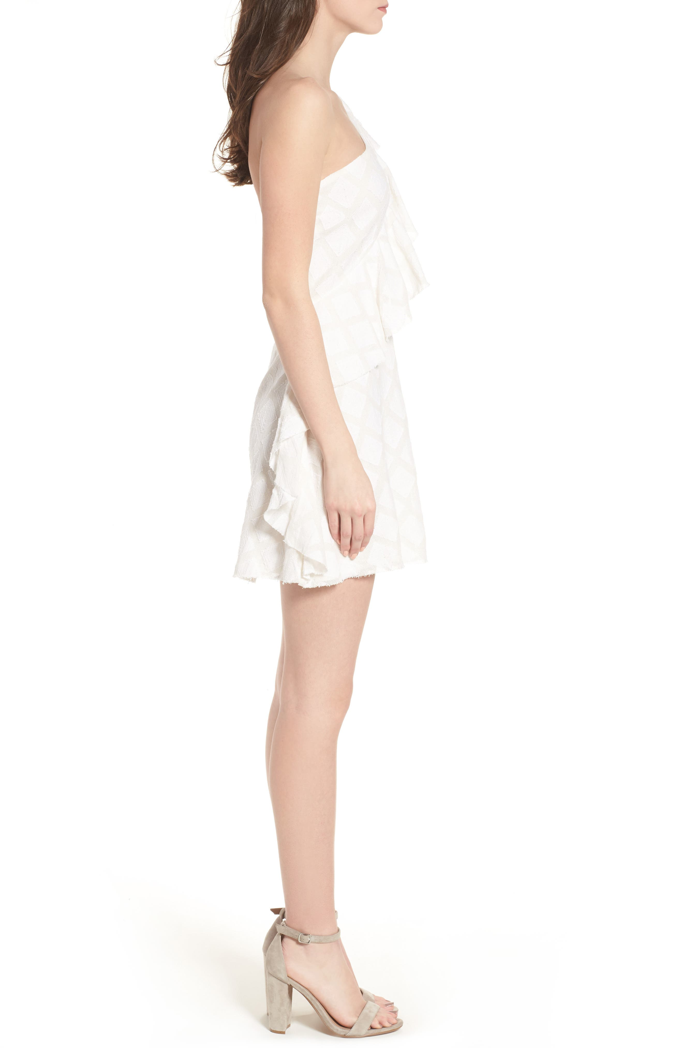 Aria One-Shoulder Dress,                             Alternate thumbnail 3, color,                             Ivory