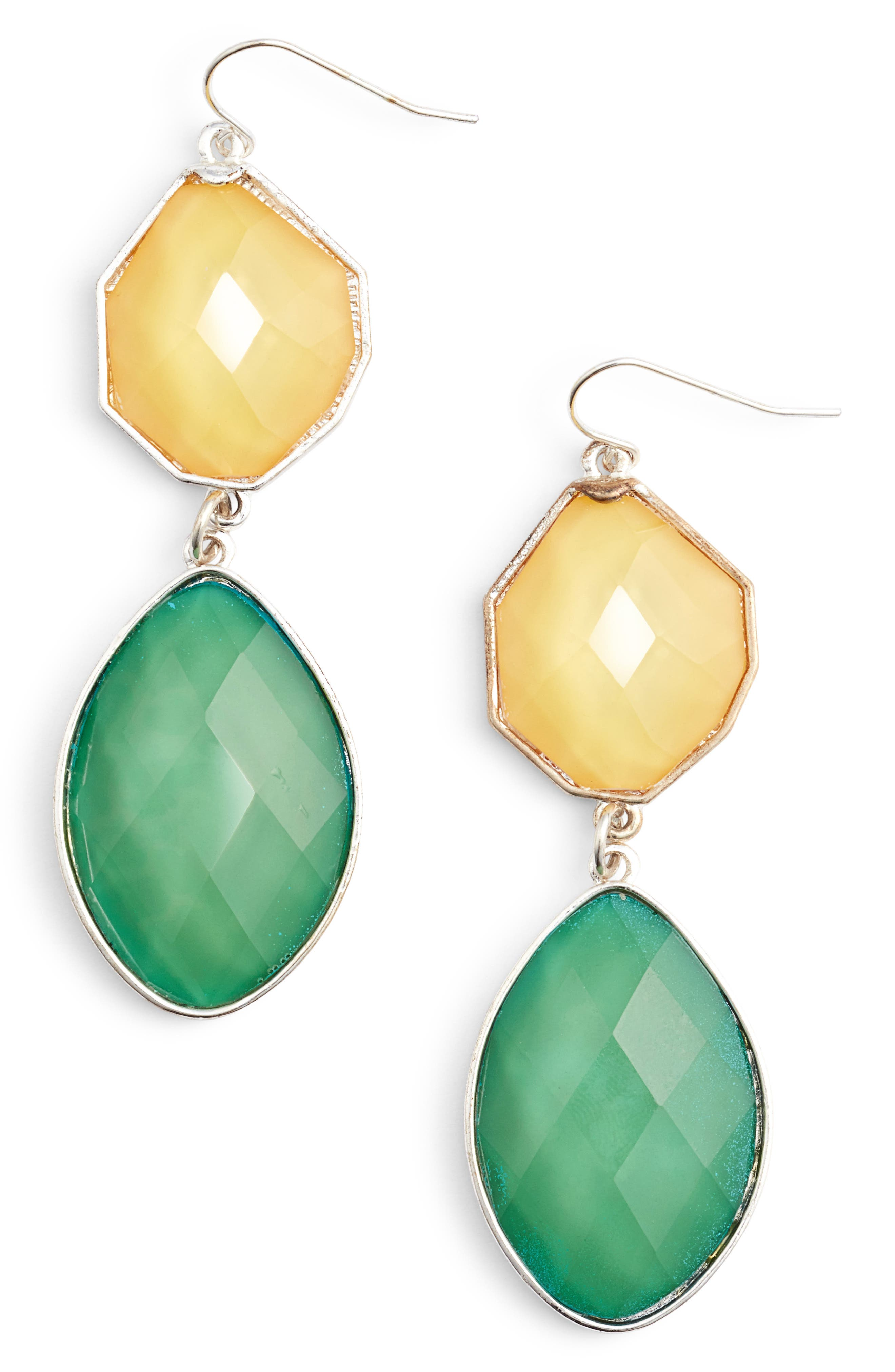 Stone Drop Earrings,                         Main,                         color, Light Green/ Yellow