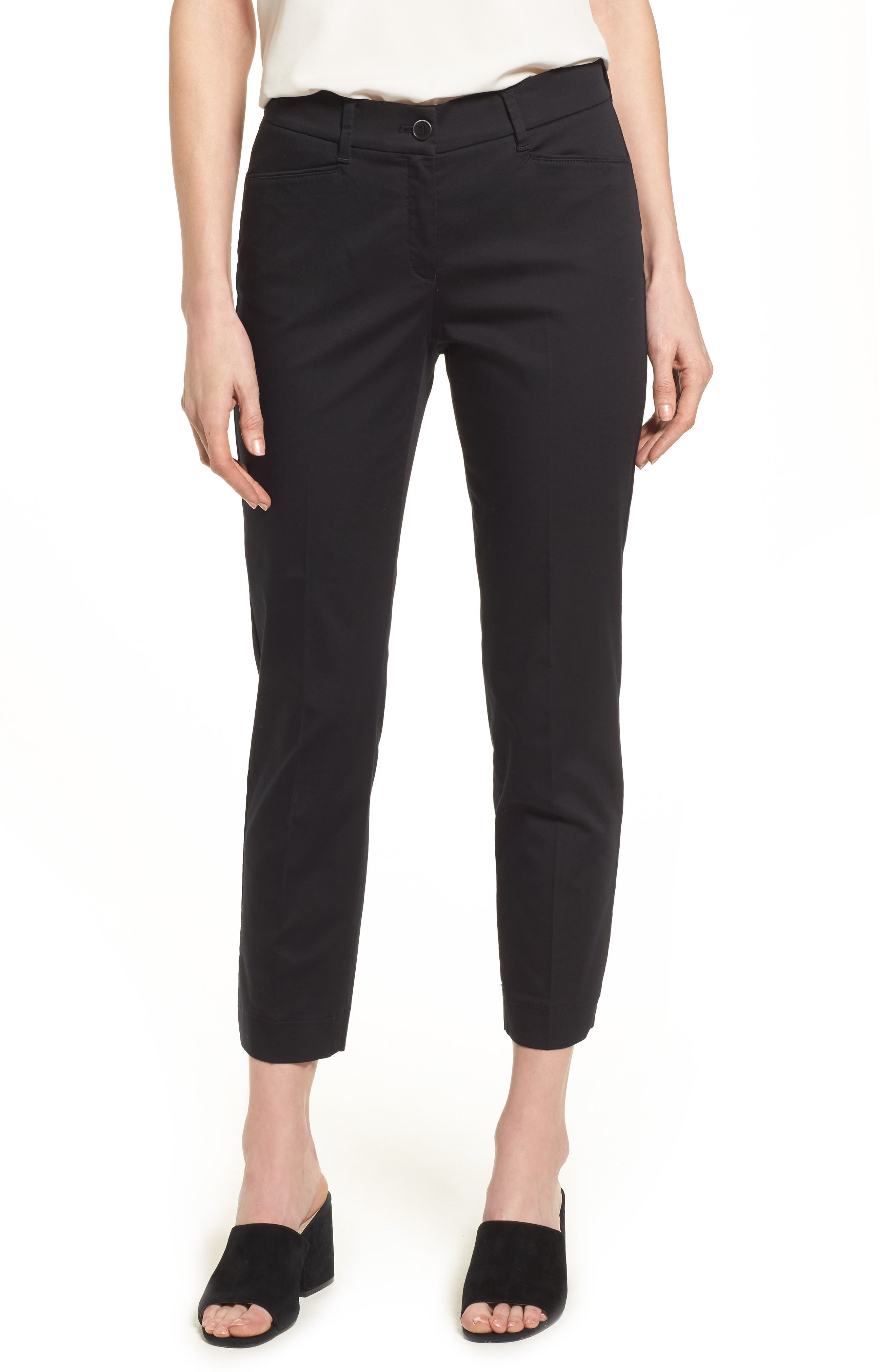 Straight Leg Cropped Trousers,                             Main thumbnail 1, color,                             Black