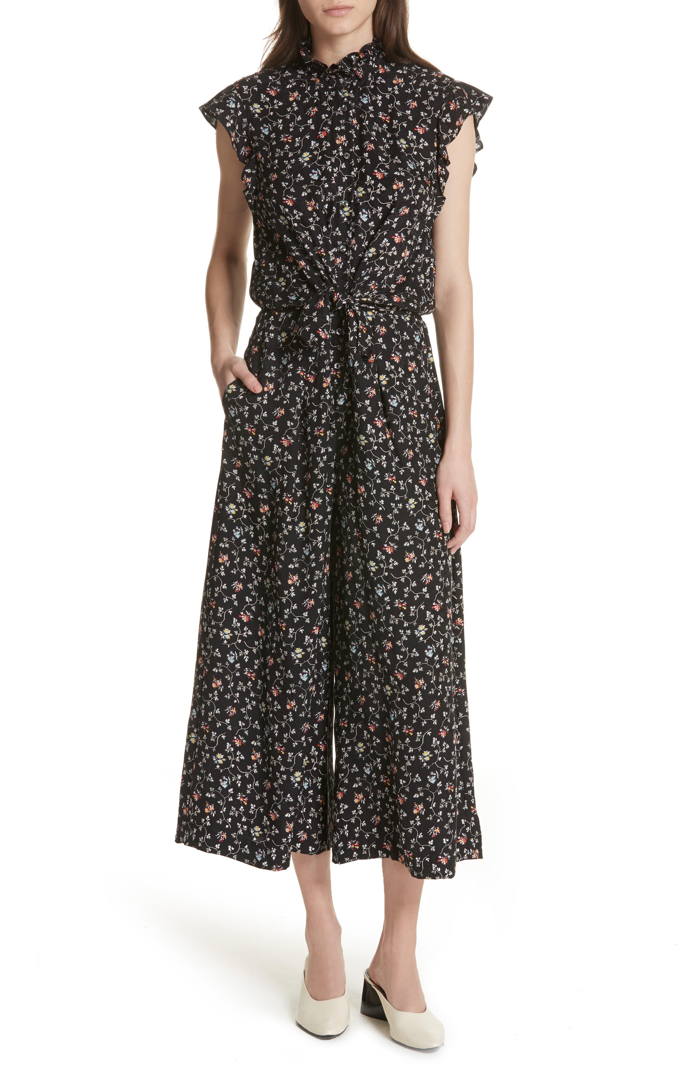 Rebecca Taylor Floral Vine Silk Jumpsuit