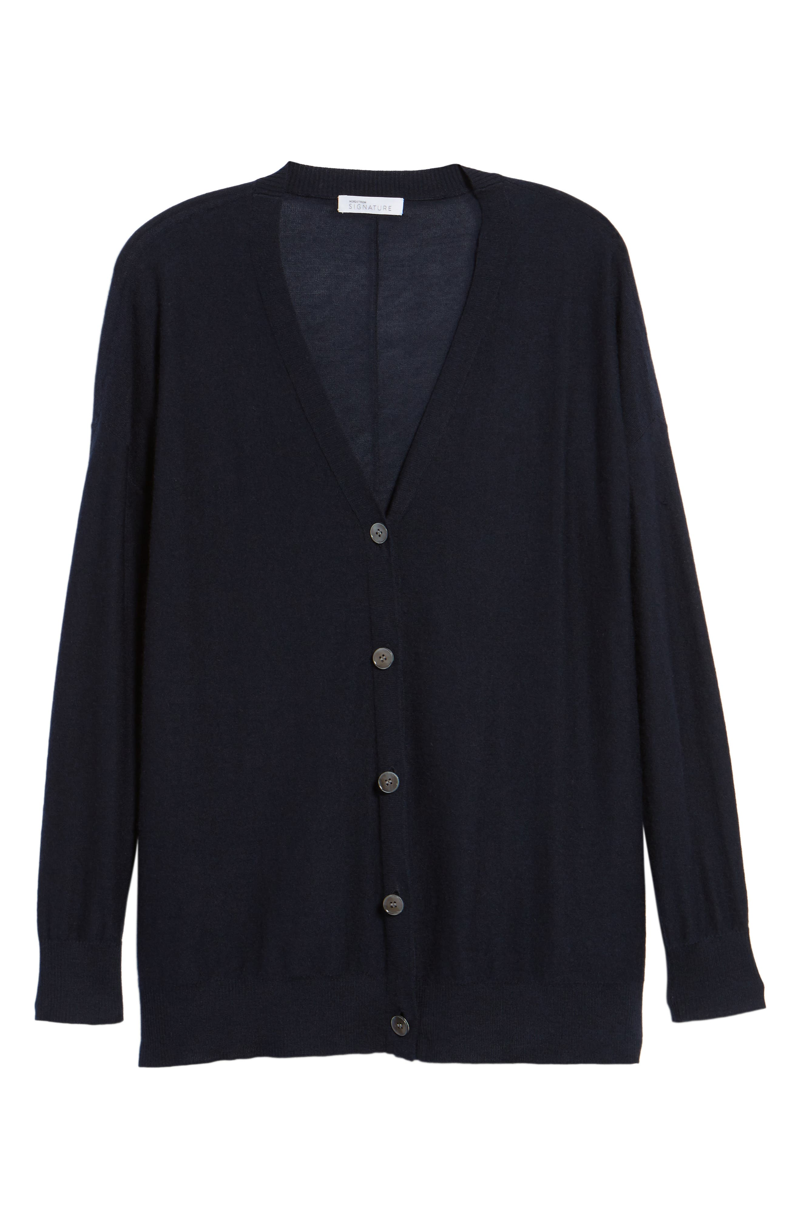 Button Front Cardigan,                             Alternate thumbnail 6, color,                             Navy Night