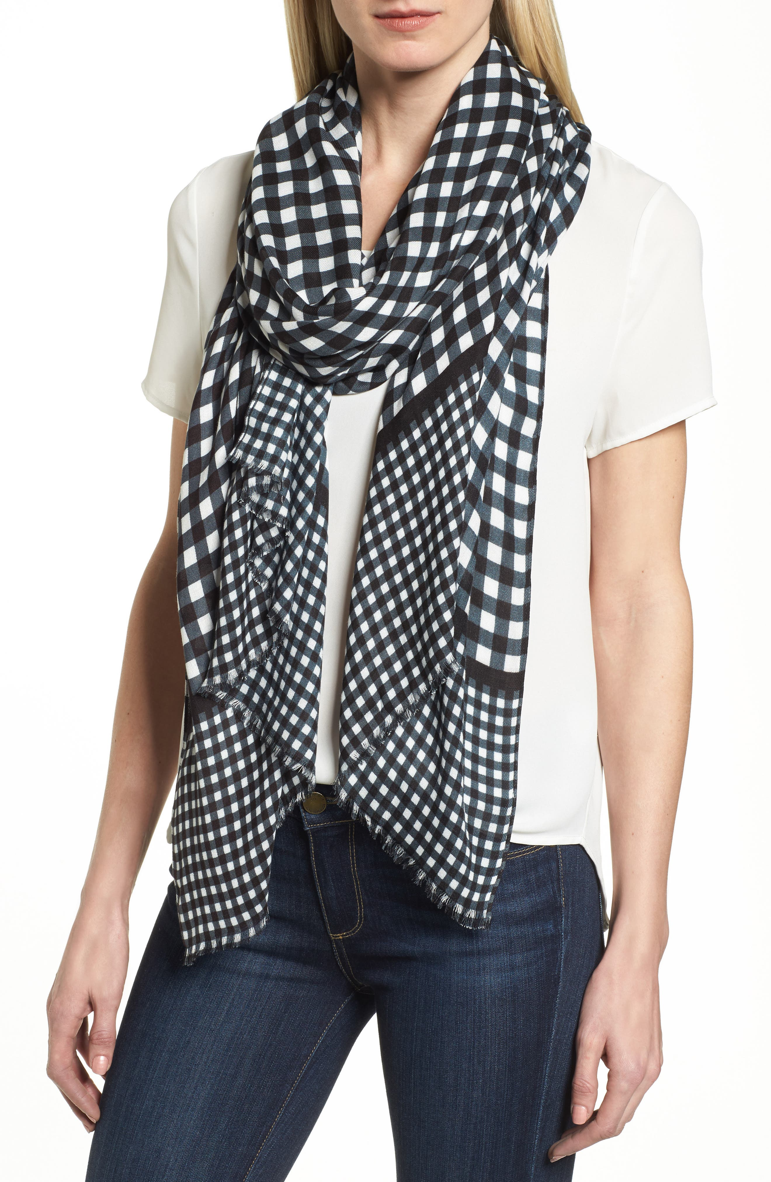 gingham scarf,                         Main,                         color, Black