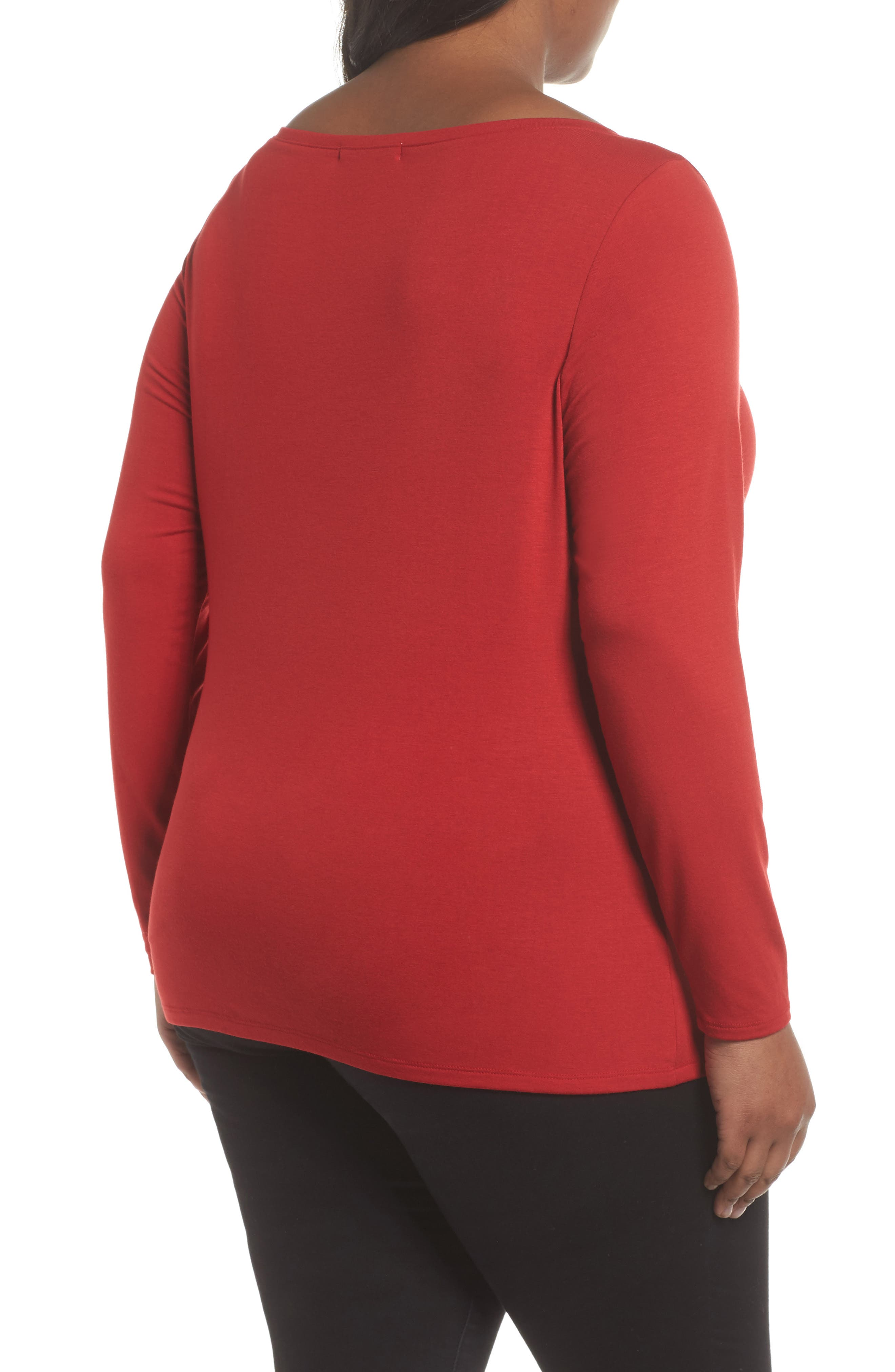 Wide V-Neck Tee,                             Alternate thumbnail 2, color,                             Red Couture