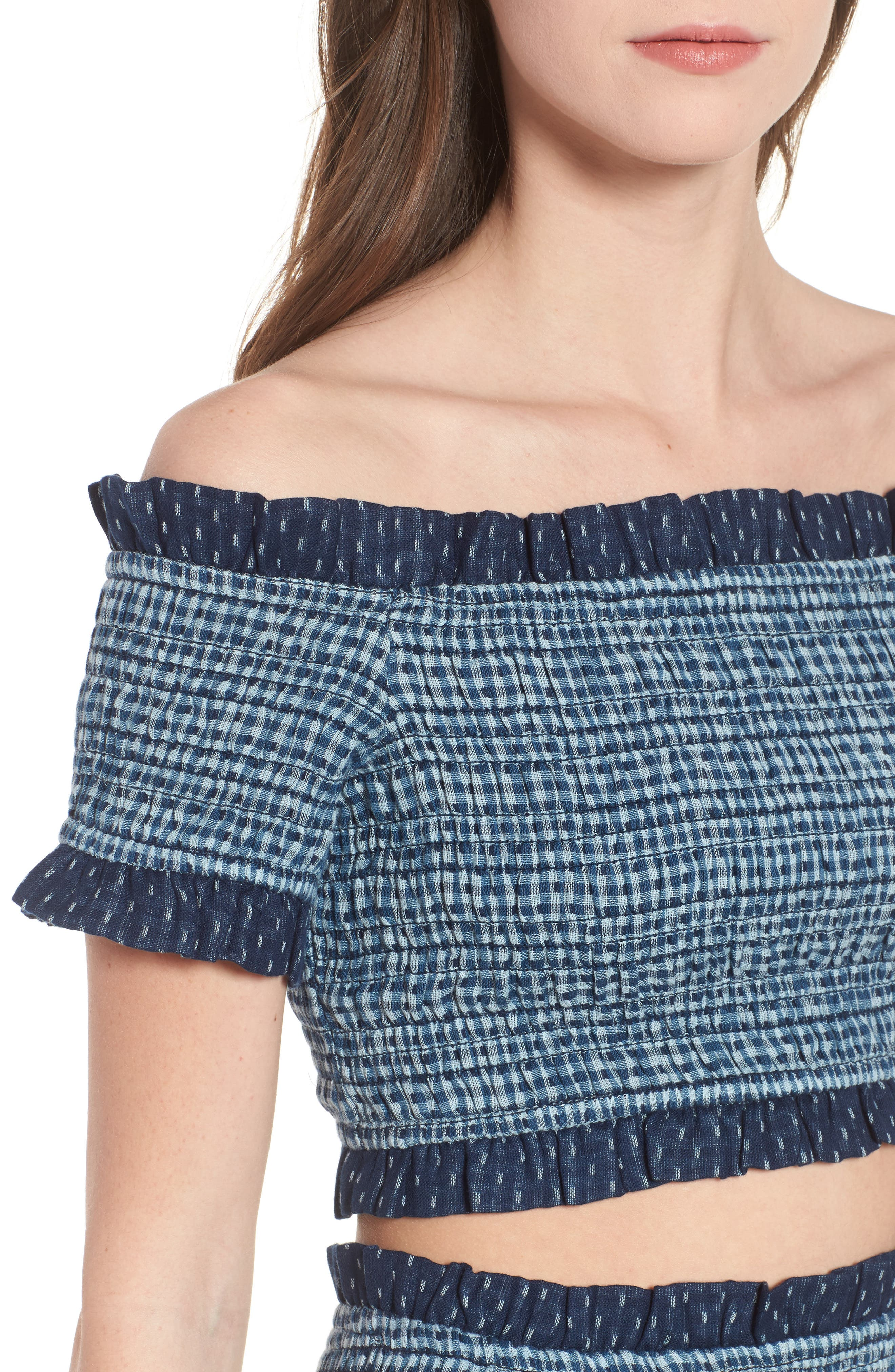 Alternate Image 4  - Tularosa Smocked Off the Shoulder Kylie Crop Top