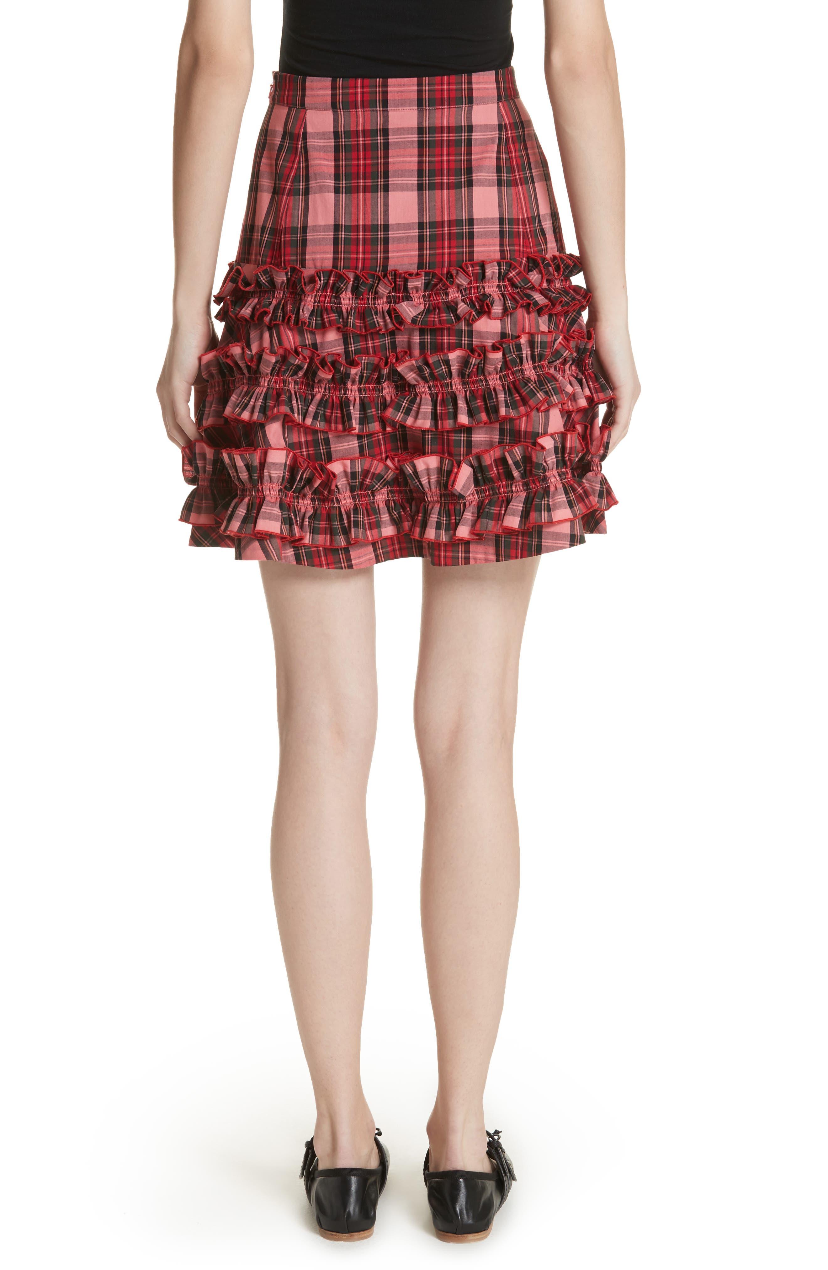 Em Ruffle Tartan Skirt,                             Alternate thumbnail 2, color,                             Pink