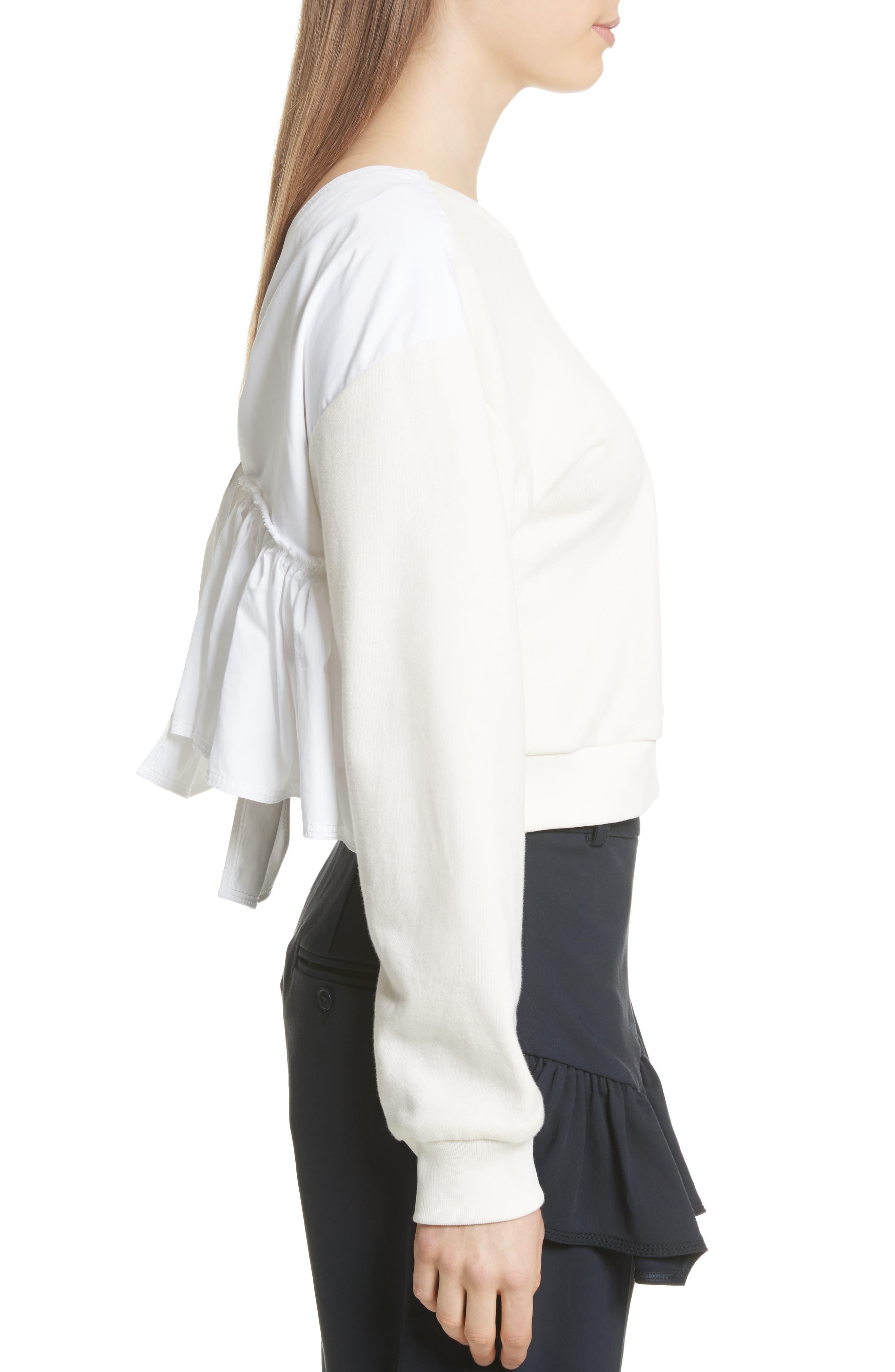 Tie Back Crop Sweatshirt,                             Alternate thumbnail 3, color,                             Ecru
