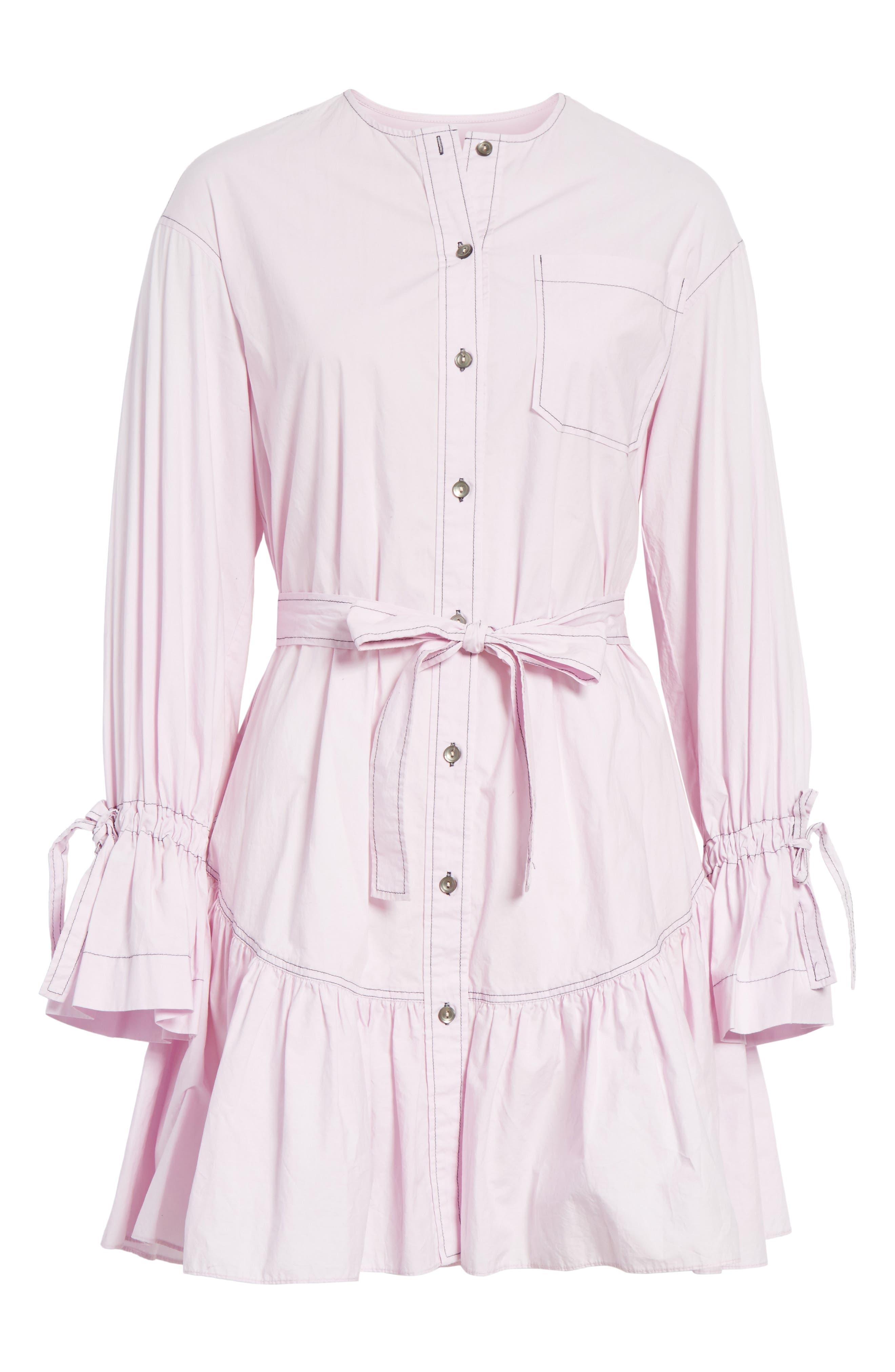 Ruffled Poplin Shirtdress,                             Alternate thumbnail 6, color,                             Lilac Dust