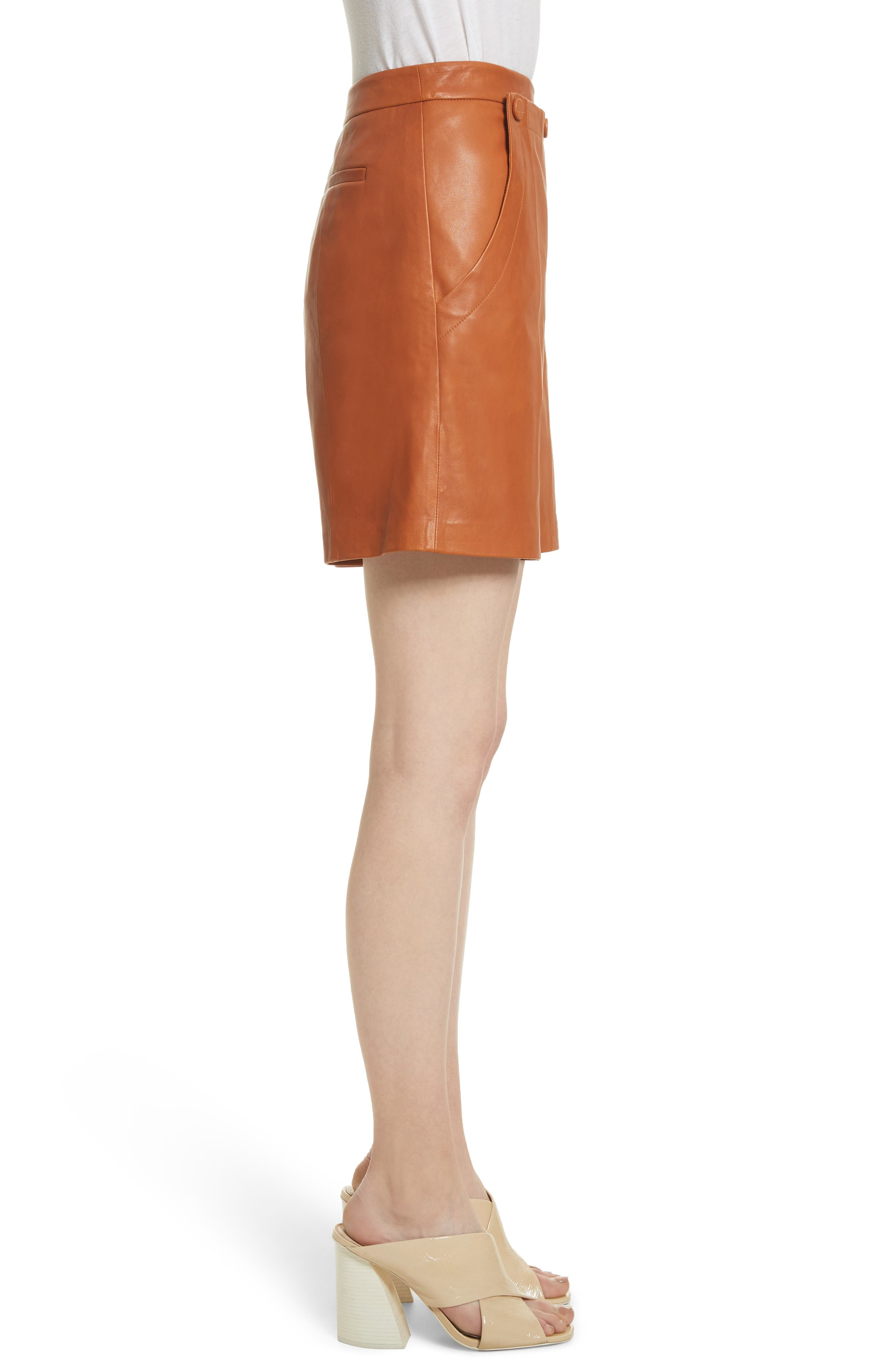 Leather Sailor Shorts,                             Alternate thumbnail 3, color,                             Ginger