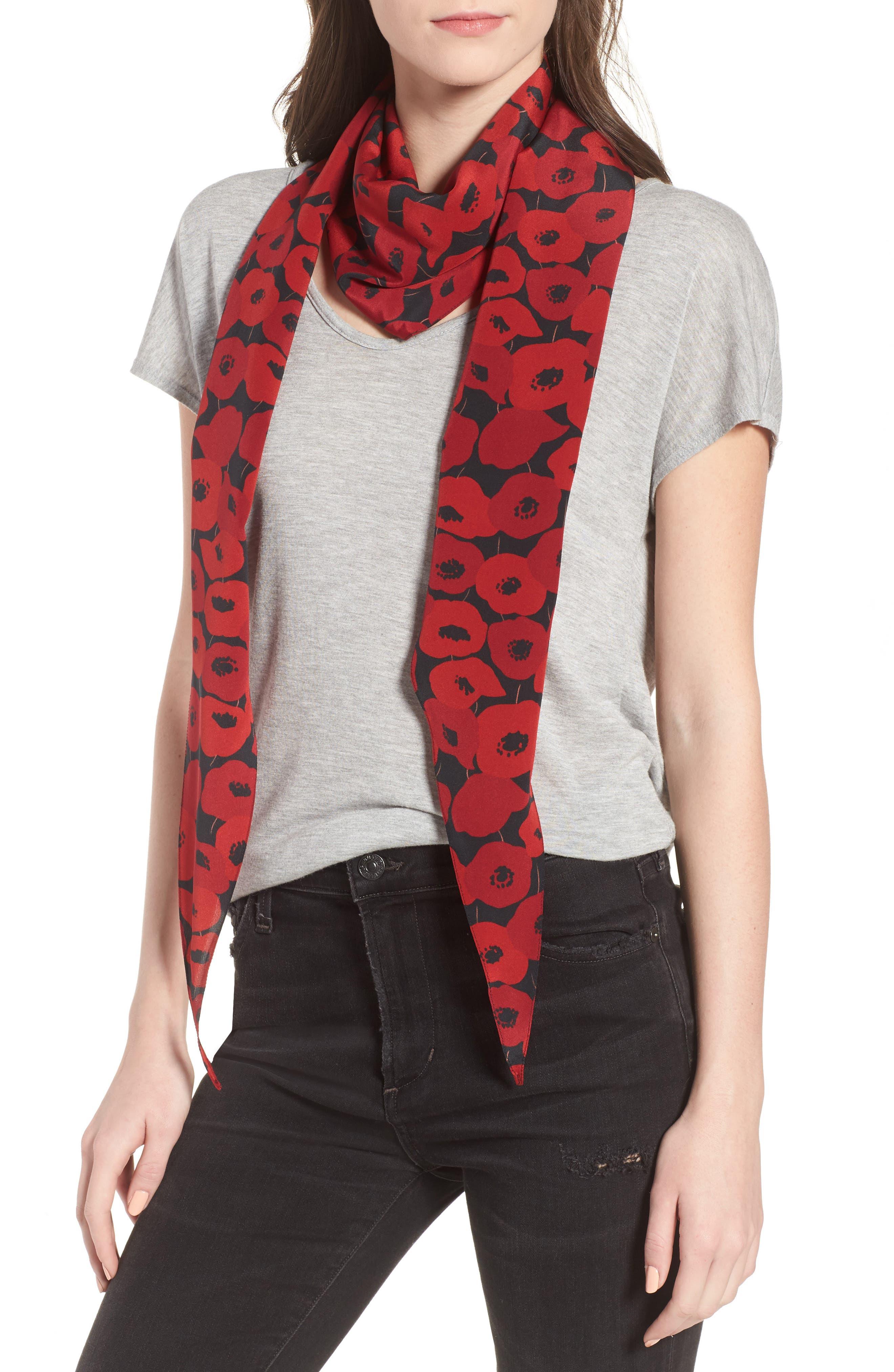 Poppy Diamond Silk Scarf,                             Alternate thumbnail 2, color,                             Black/ Red
