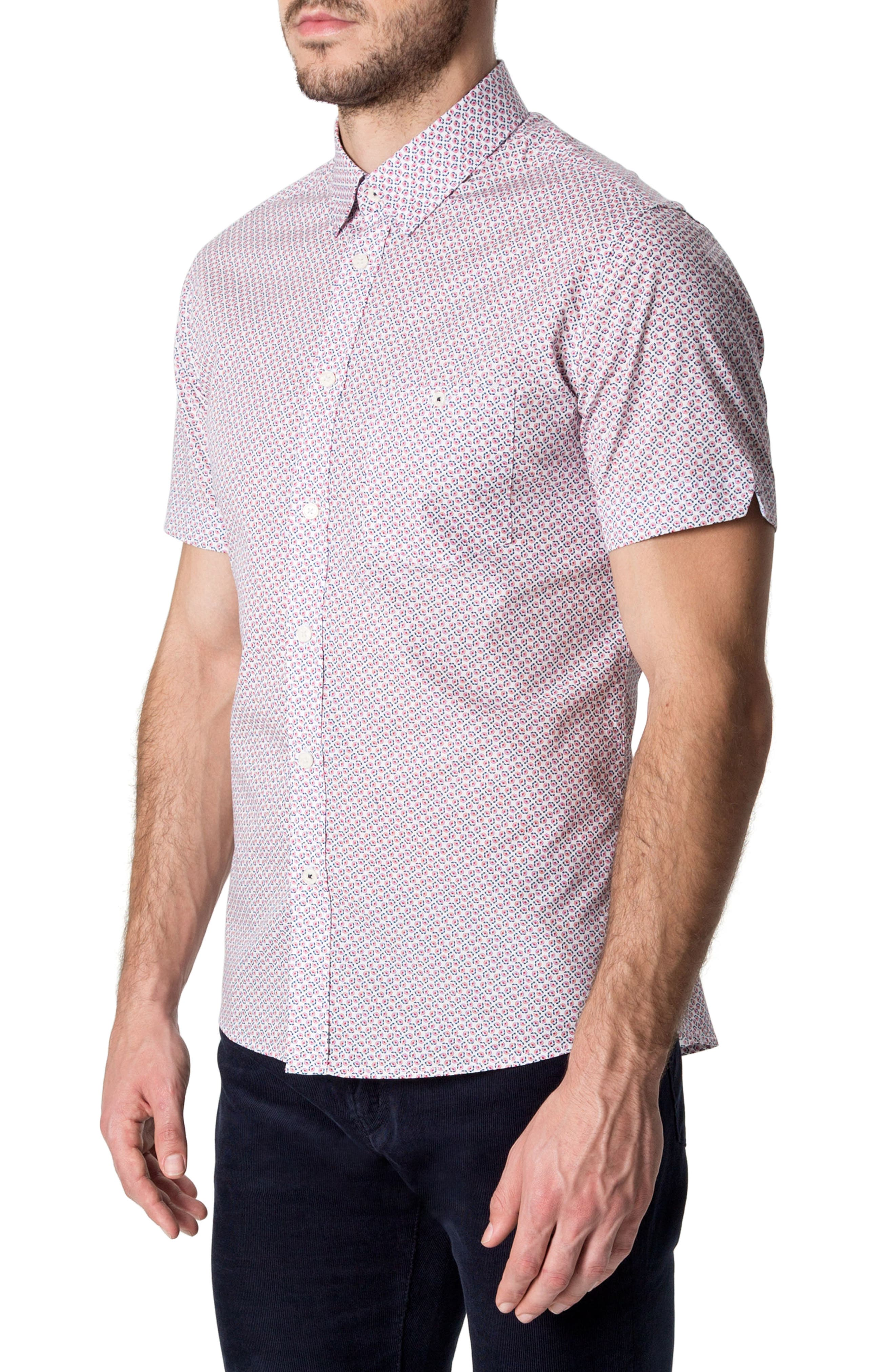 Funky Fire Woven Shirt,                             Alternate thumbnail 3, color,                             Red