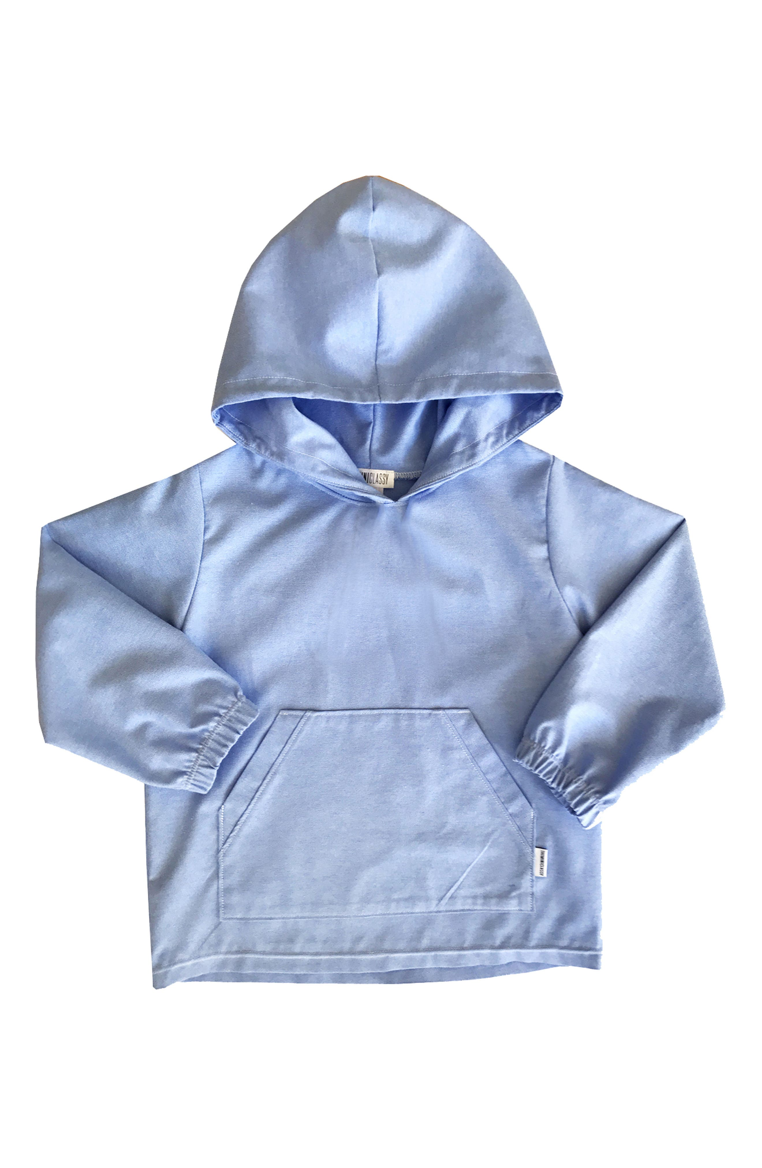 Chambray Pullover Hoodie,                         Main,                         color, Light Blue