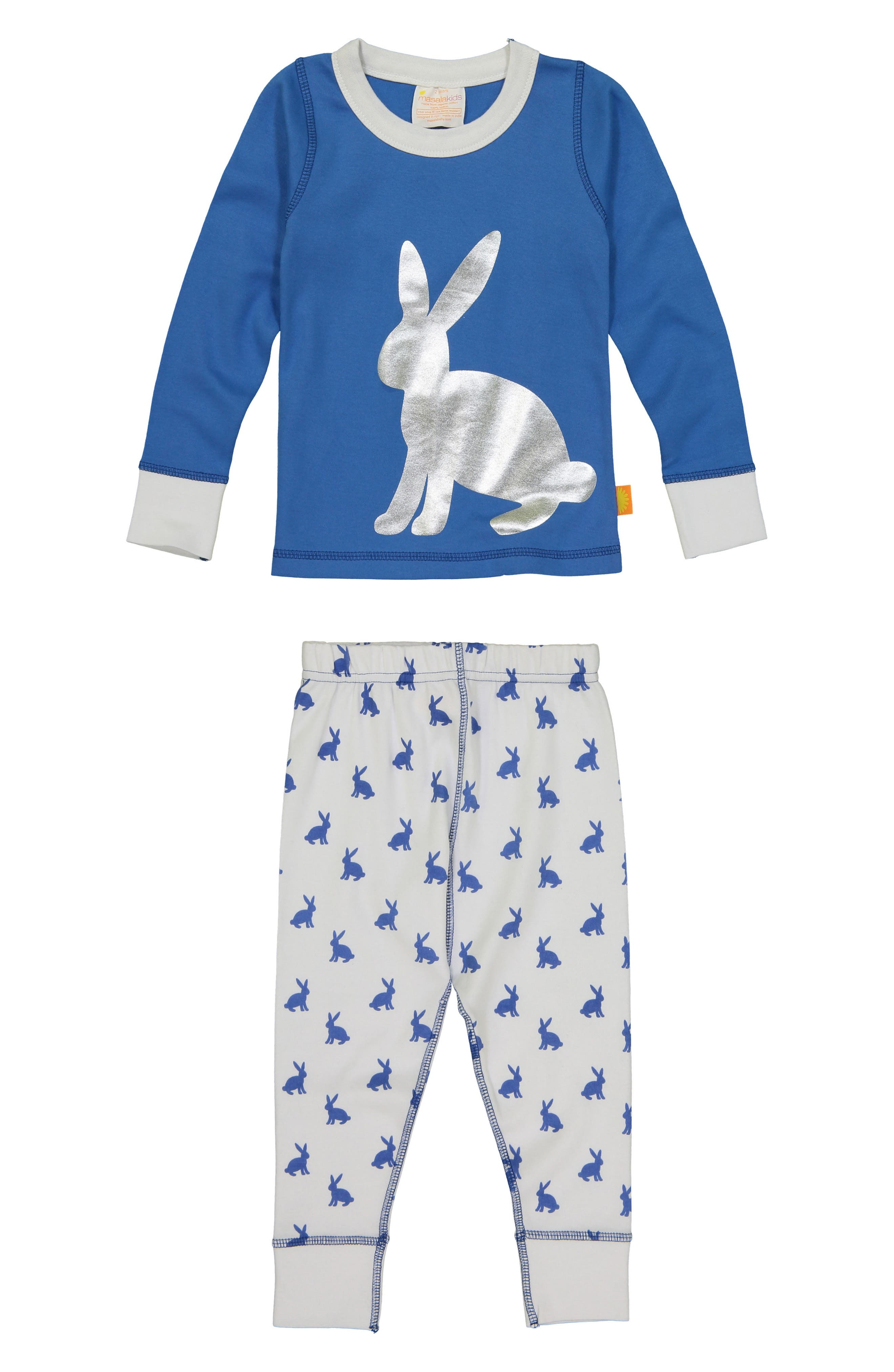 Bunny Hop Fitted Two-Piece Pajamas,                             Main thumbnail 1, color,                             Blue