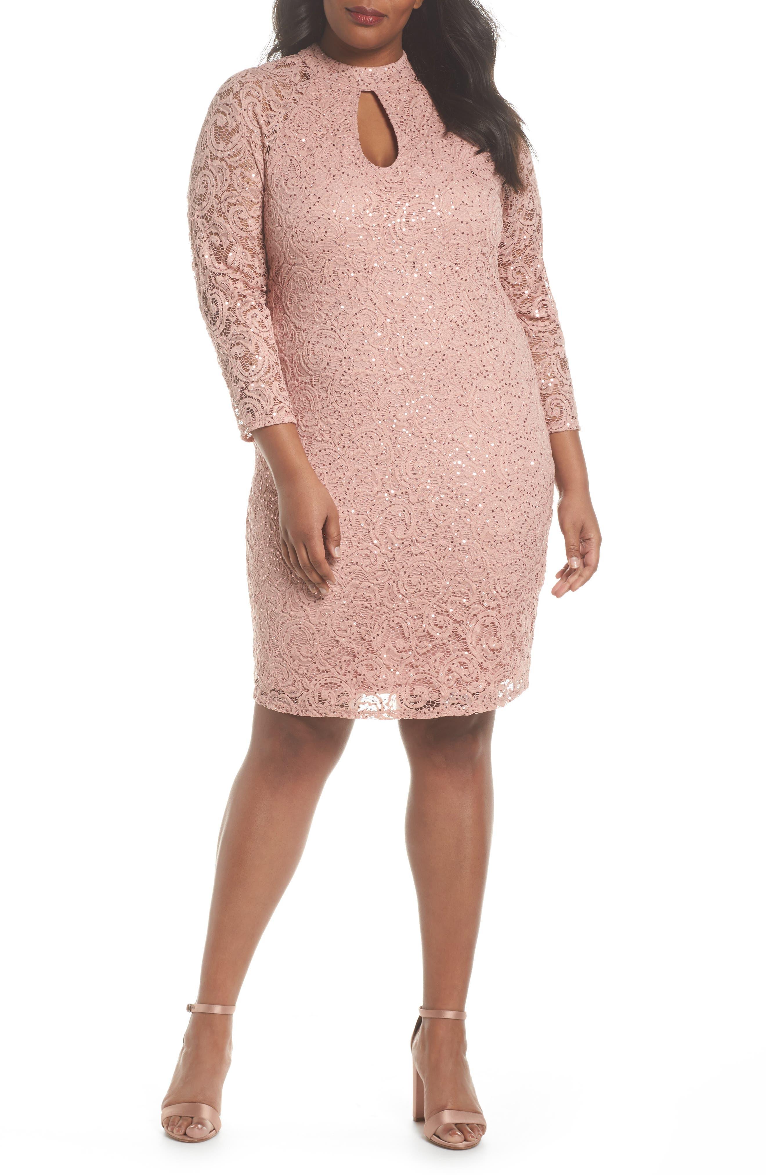 Marina Sequin Keyhole Sheath Dress (Plus Size)