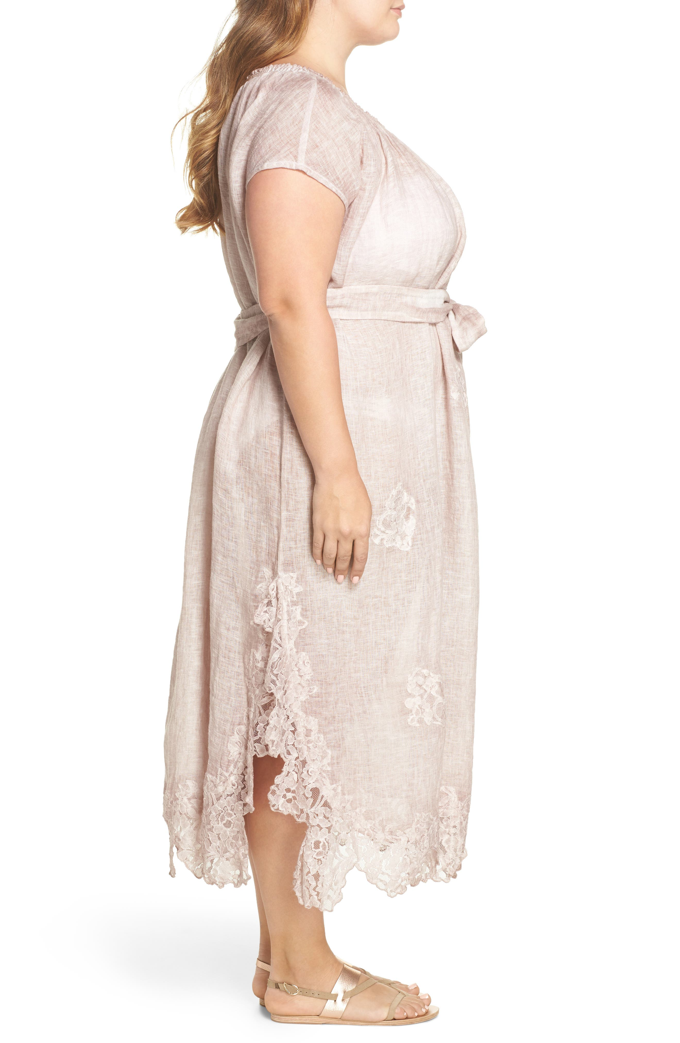 Daisy Linen Cover-Up Dress,                             Alternate thumbnail 3, color,                             Dusty Pink