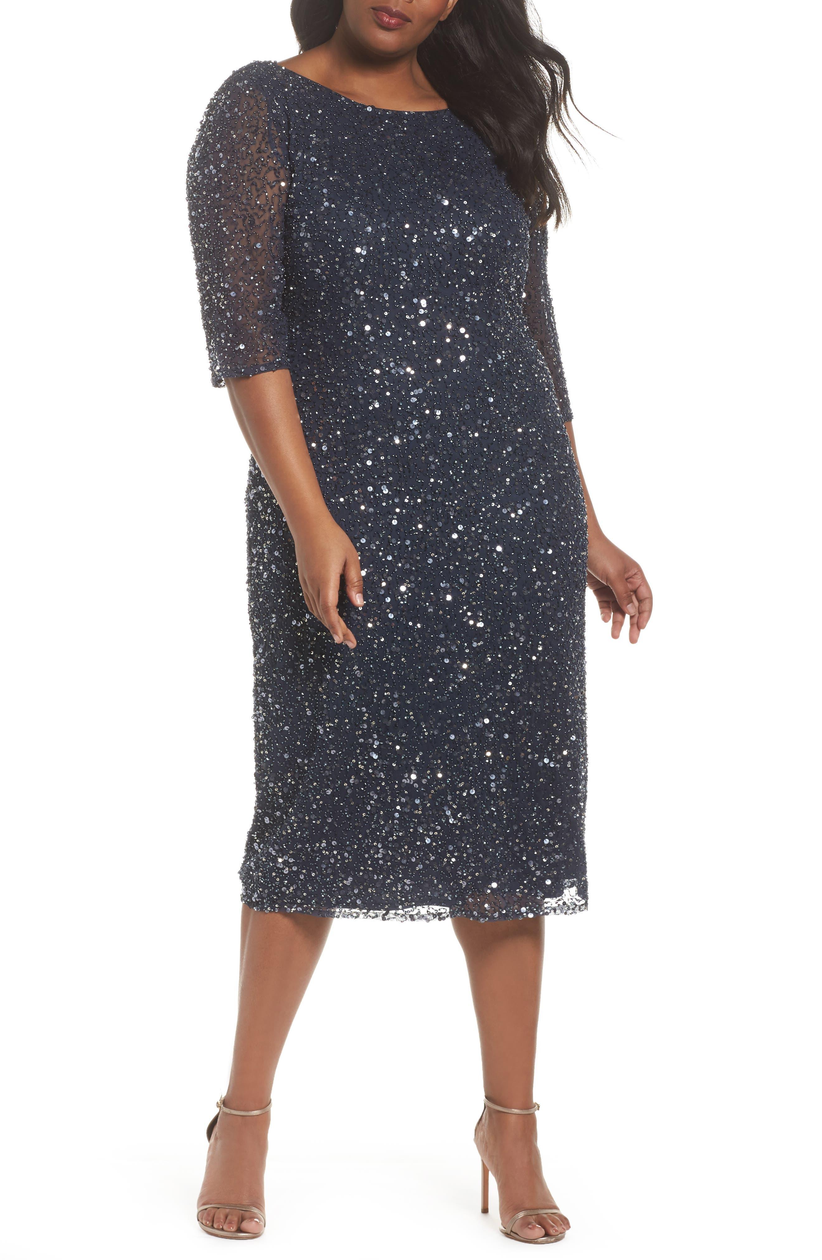 Cowl Back Beaded Dress,                         Main,                         color, Slate