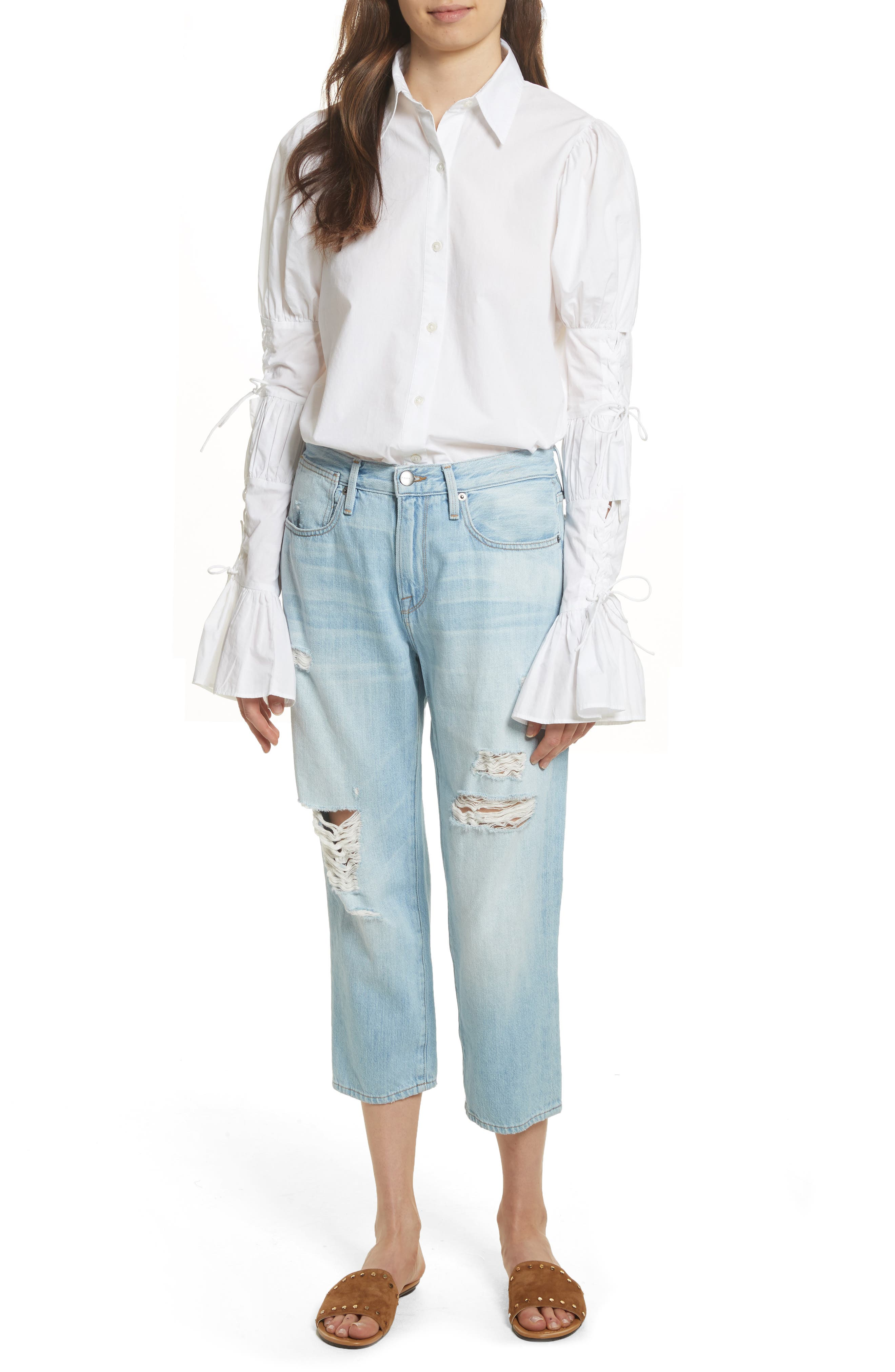 Lace-Up Sleeve Cotton Shirt,                             Alternate thumbnail 7, color,                             Blanc