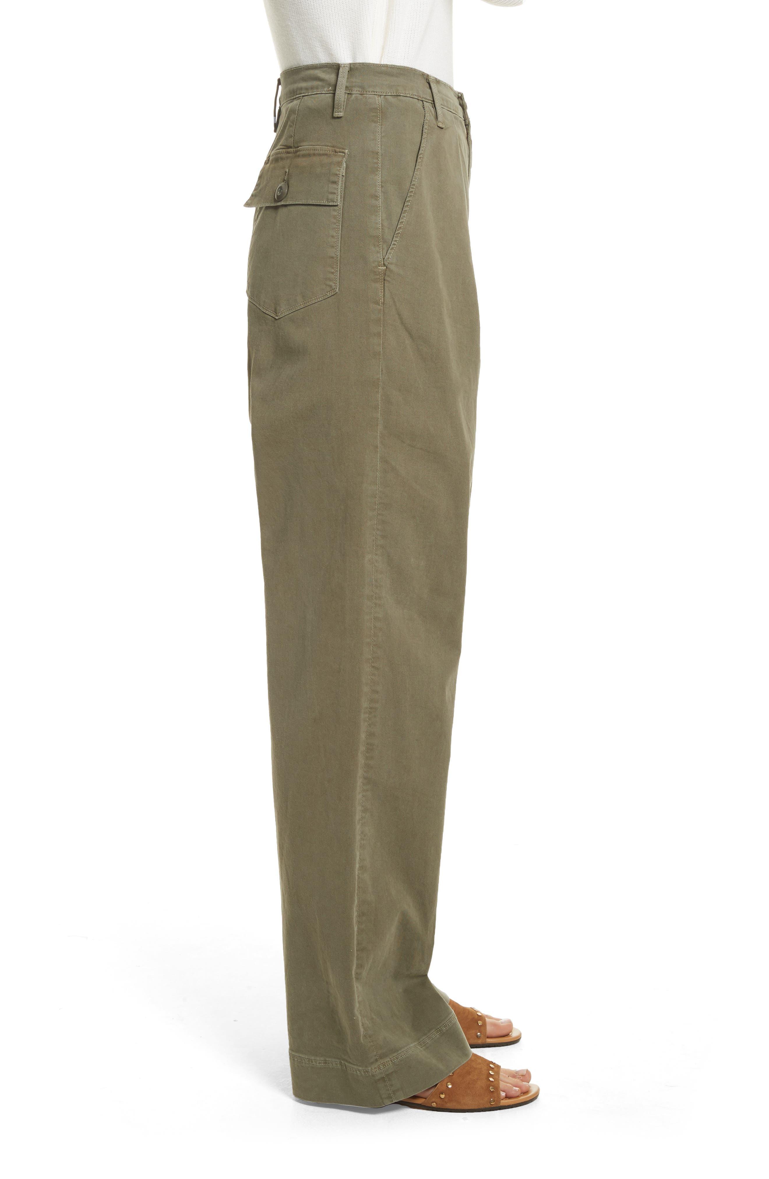 Le Service Wide Leg Pants,                             Alternate thumbnail 3, color,                             Militia Green