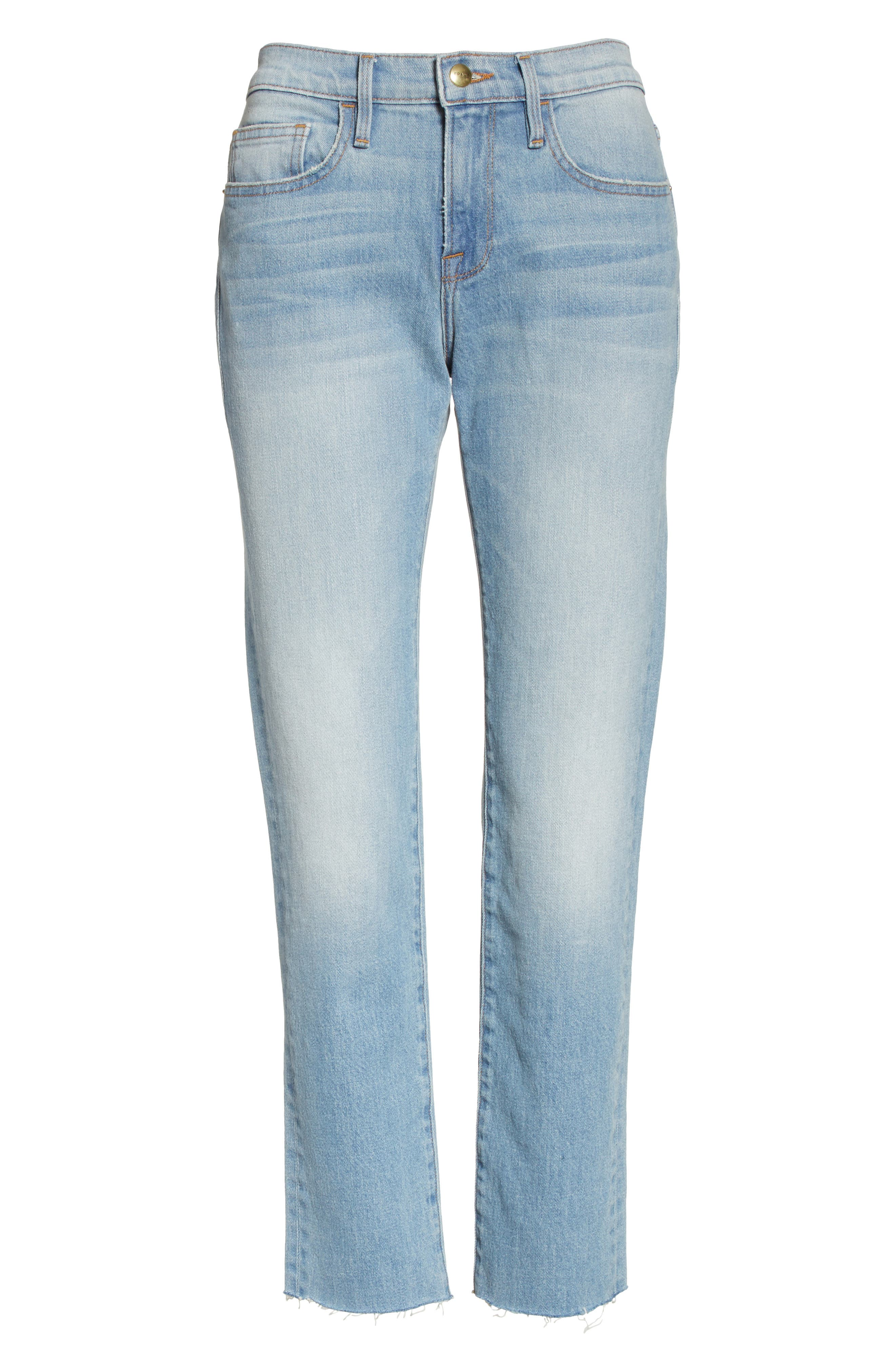 Le Boy High Waist Raw Hem Jeans,                             Alternate thumbnail 6, color,                             Pamder End