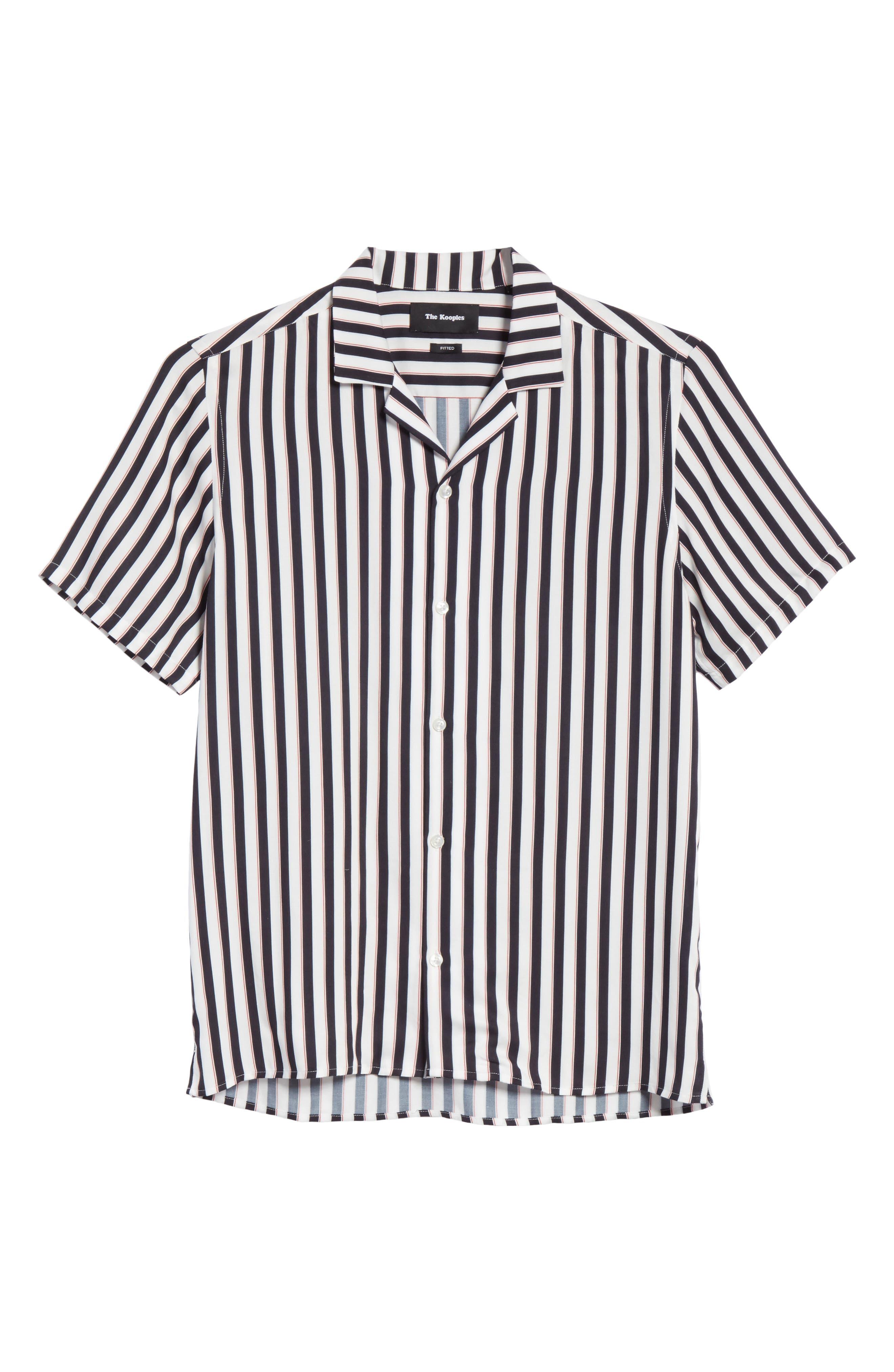 Stripe Camp Shirt,                             Alternate thumbnail 6, color,                             Whi 09